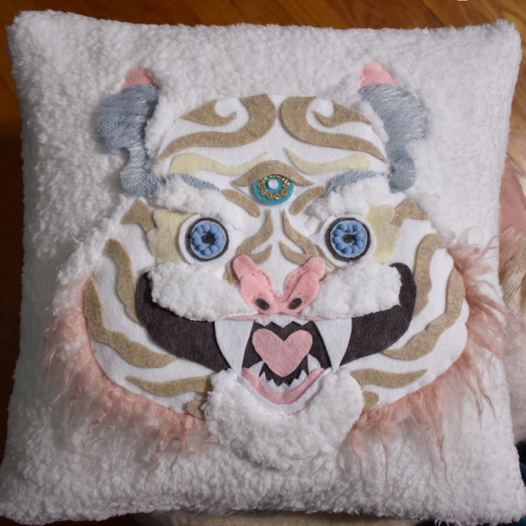 Original Design Monster Tiger Pillow Embroidery