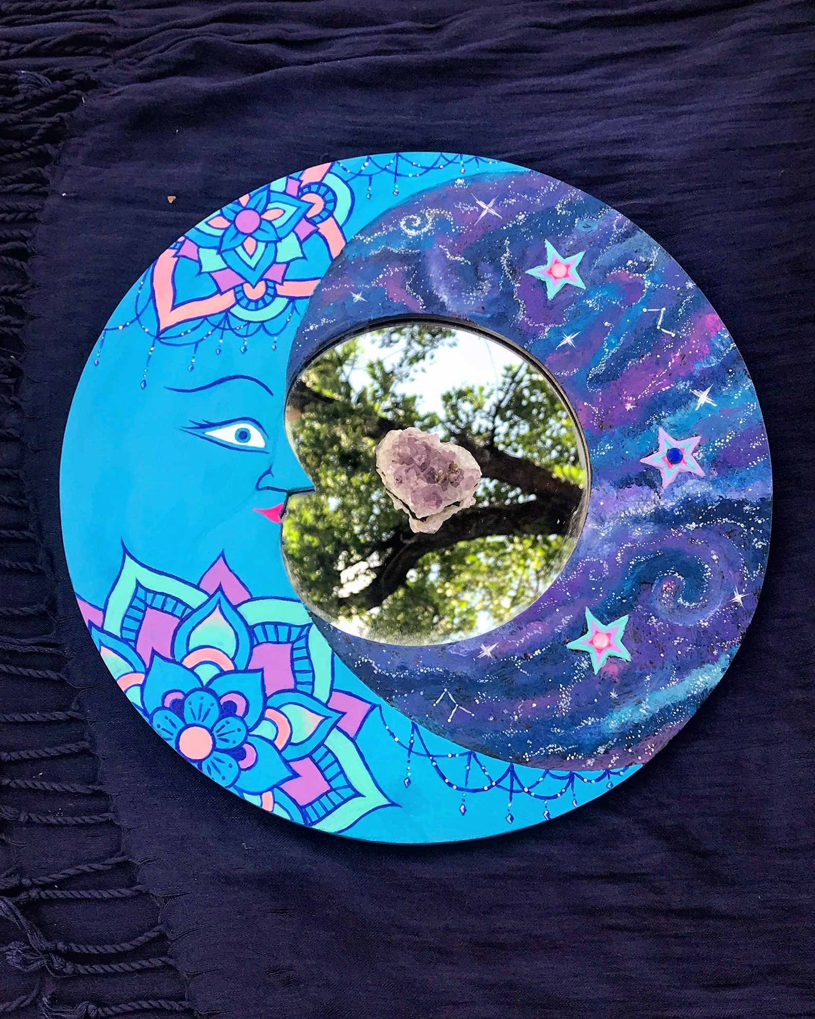 Refurbished, hand painted thrift store galaxy mandala moon mirror with rhinestone accents.