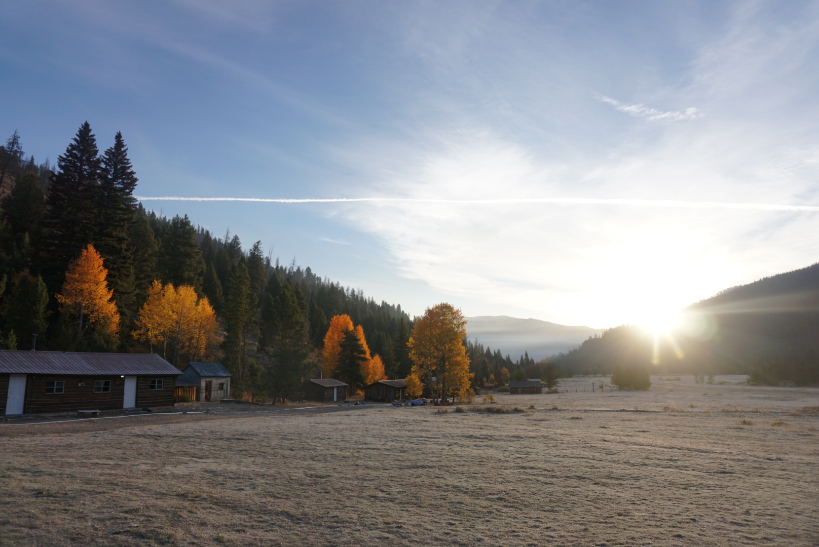 The Sulphur Creek valley flaunting autumn colors and a layer of frost.