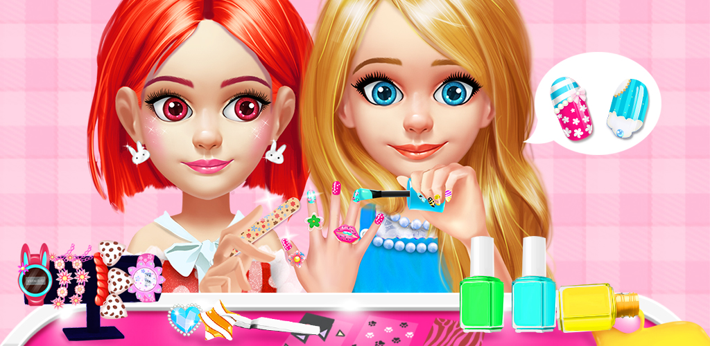 KIDS NAIL SALON - GIRLS DESIGN  Welcome to Kids Nail Salon. Would you like to have a cute nail art? Now it's your turn to design a cute and unique nail art for yourself! Have a hand spa first, after that, you may choose your favorite nail polish colors and add tons of adorable decorations!