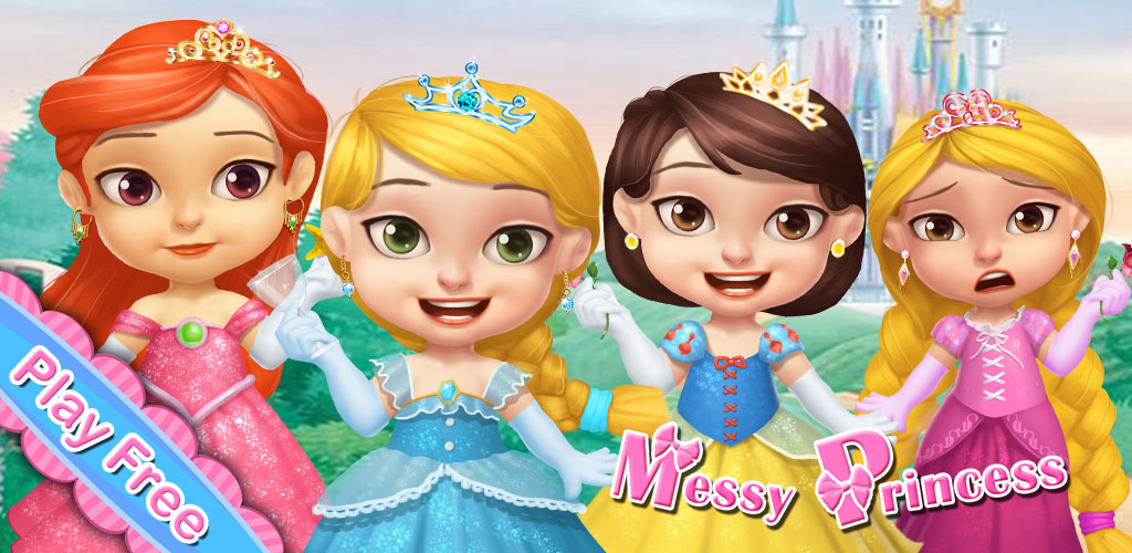 PRINCESS MESSY MANIA  Oh, just look at those girls! They're such a mess! They need a spa treatment right away! Open your own spa for princess kids so you can help dress these girls in the best new fashions.