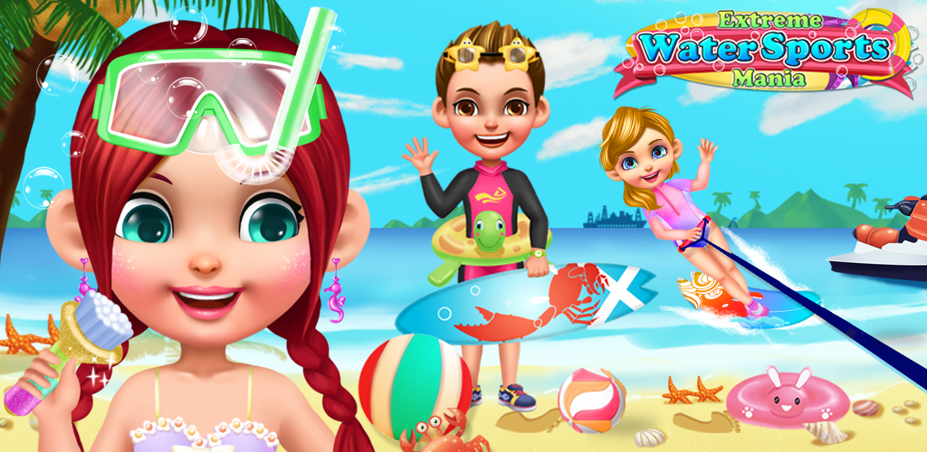 SUMMER SPLASH BEACH GIRL SALON  It's summertime, and all the kids are having fun at the beach! And what do these cool dudes love to do when they're hanging out by the surf and the sand? Extreme water sports, of course! The wetter, the better!