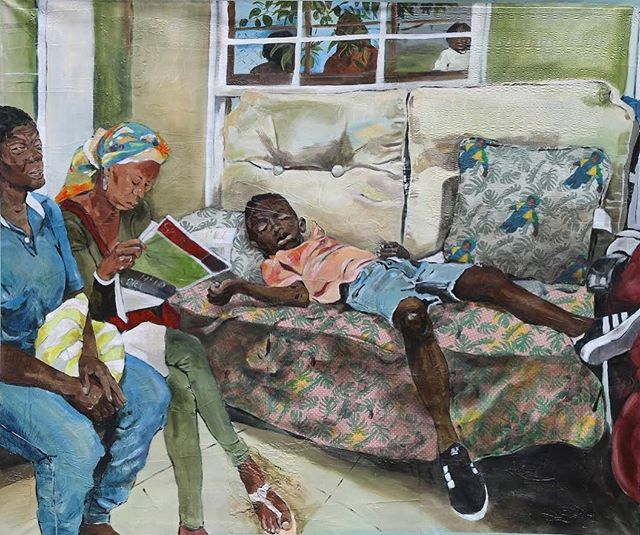 """""""Aunty and Ms relaxing and reading after the food, and Domonique sleeping on the couch""""  Acrylic, graphite, wax crayon, cloth collage, paper collage, screen print on paper on canvas. . . . . .  #acrylicpainting #gradschool #uofa #arizonauniversity #portrait #Tucson #arizona #figurativeart #figurativepainting #tucsonart #tucsonartist #markmaking #mixedmedia #collage #figurativepainting #hamont #acrylicpaintingartist #hamont #hamilton #screenprinting #screenprint #screenprintpattern"""