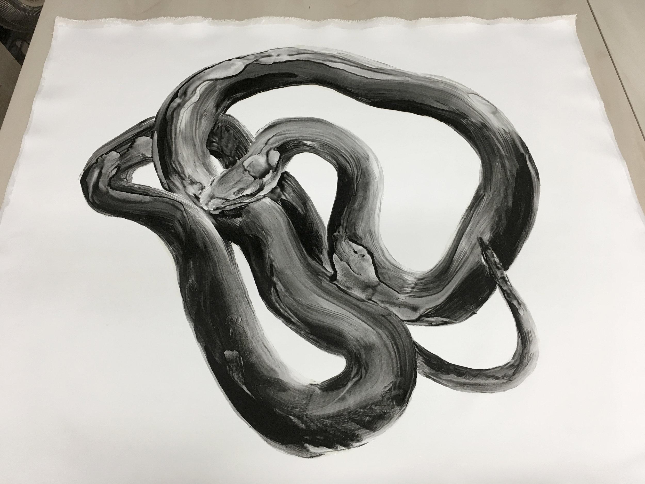 Étude, serpent  Huile sur toile