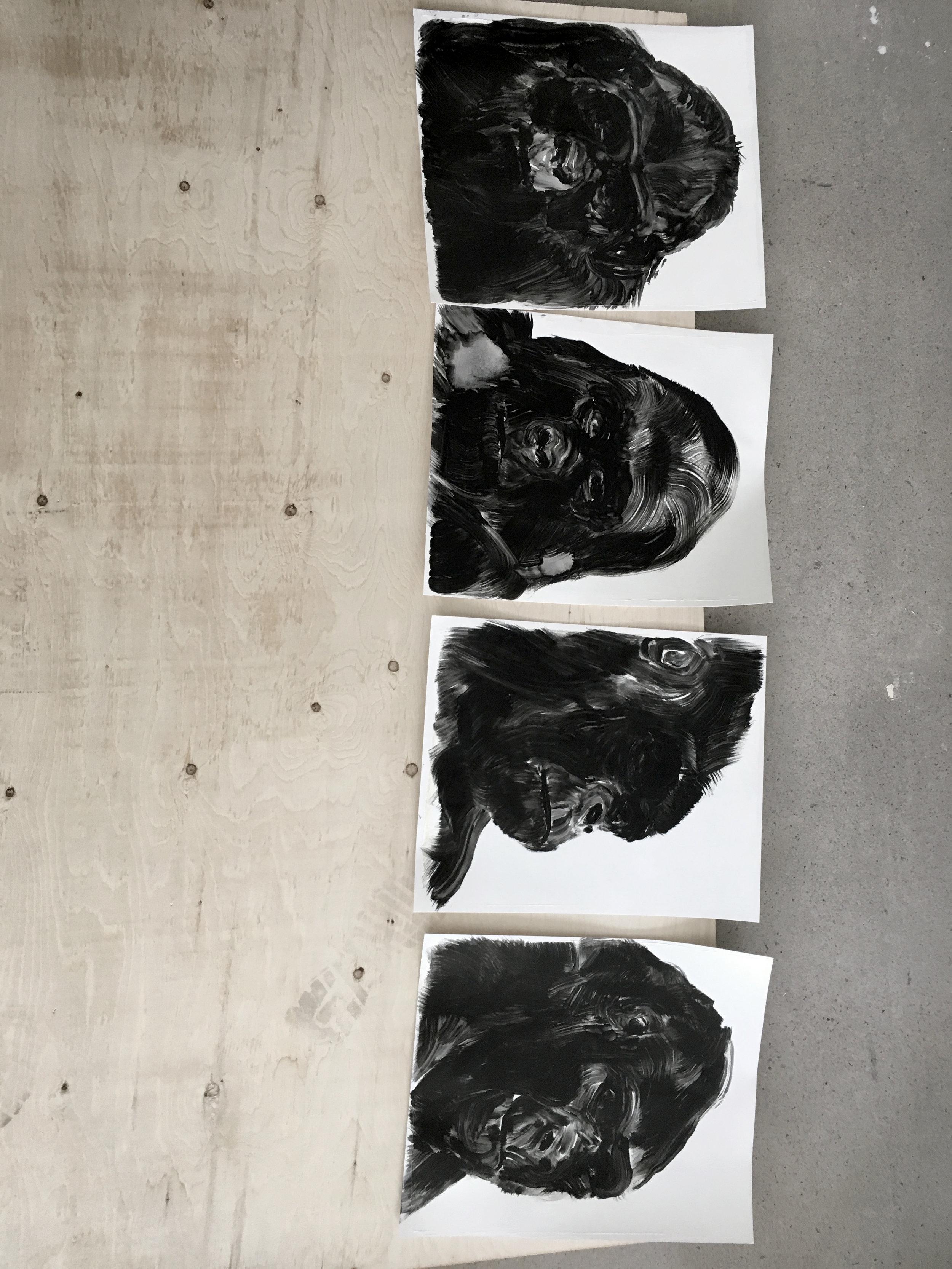 Portraits de gorilles  Études à l'huile sur papier