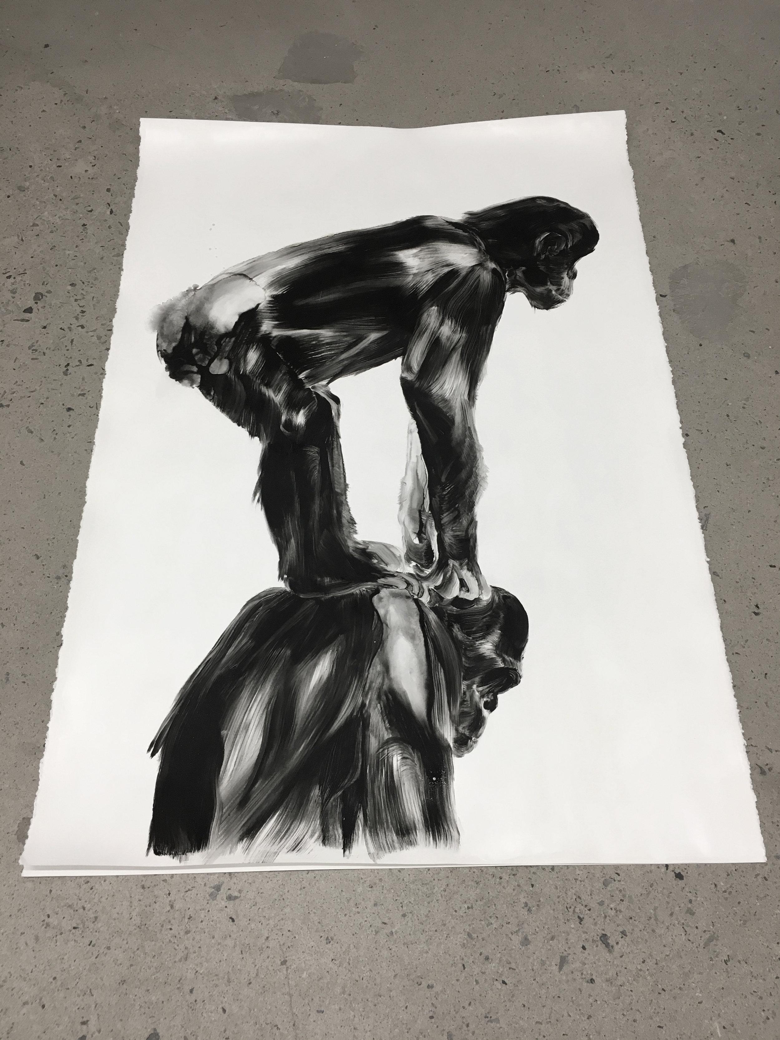 Le fardeau, The burden  Huile sur papier