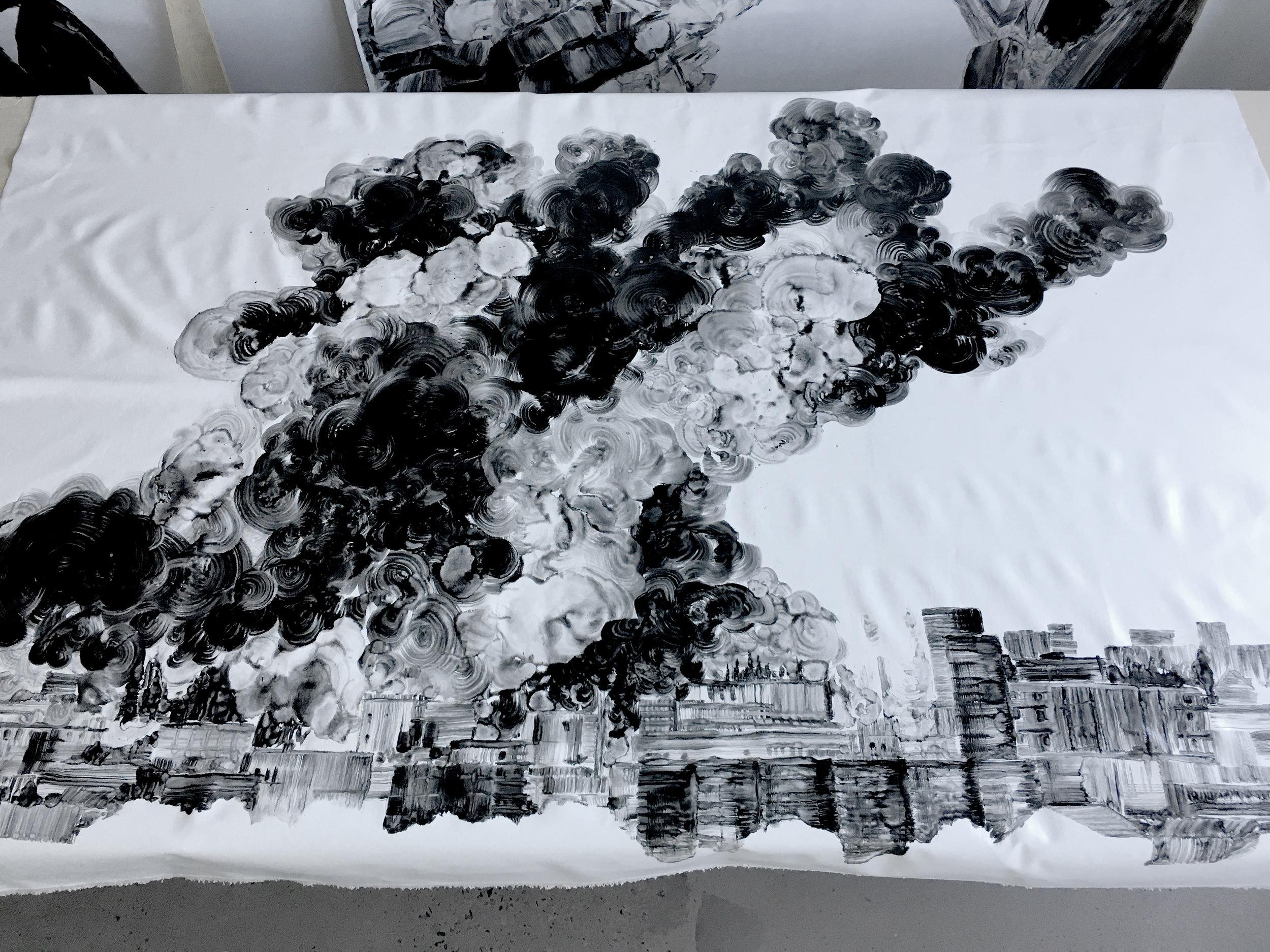 Bombing 1  Huile sur toile