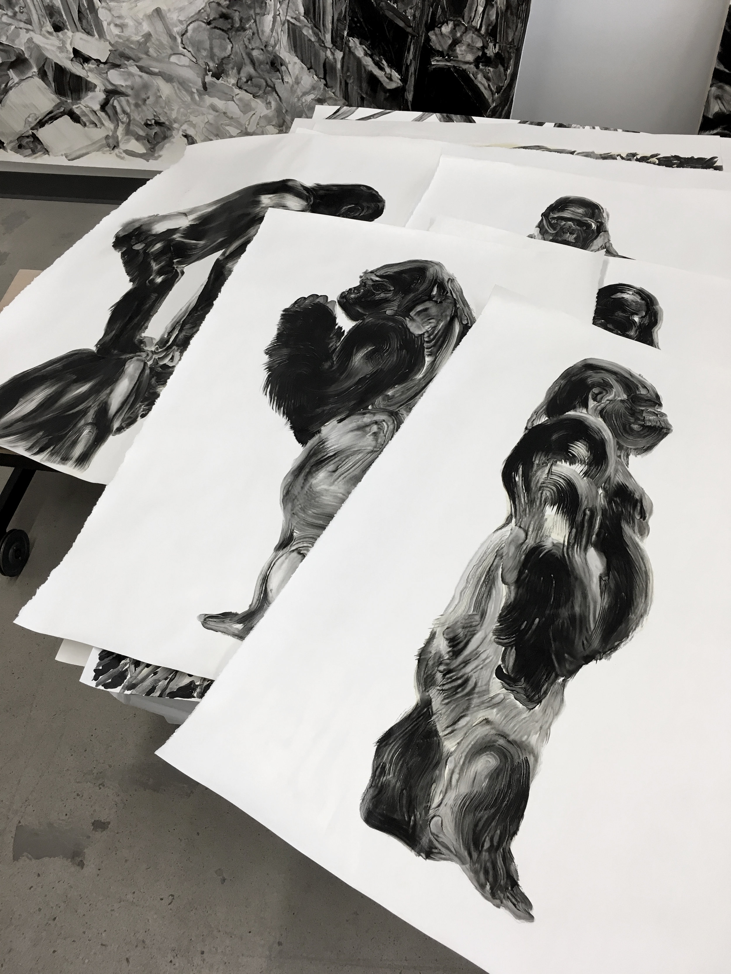 Série des gorilles  Huile sur papier