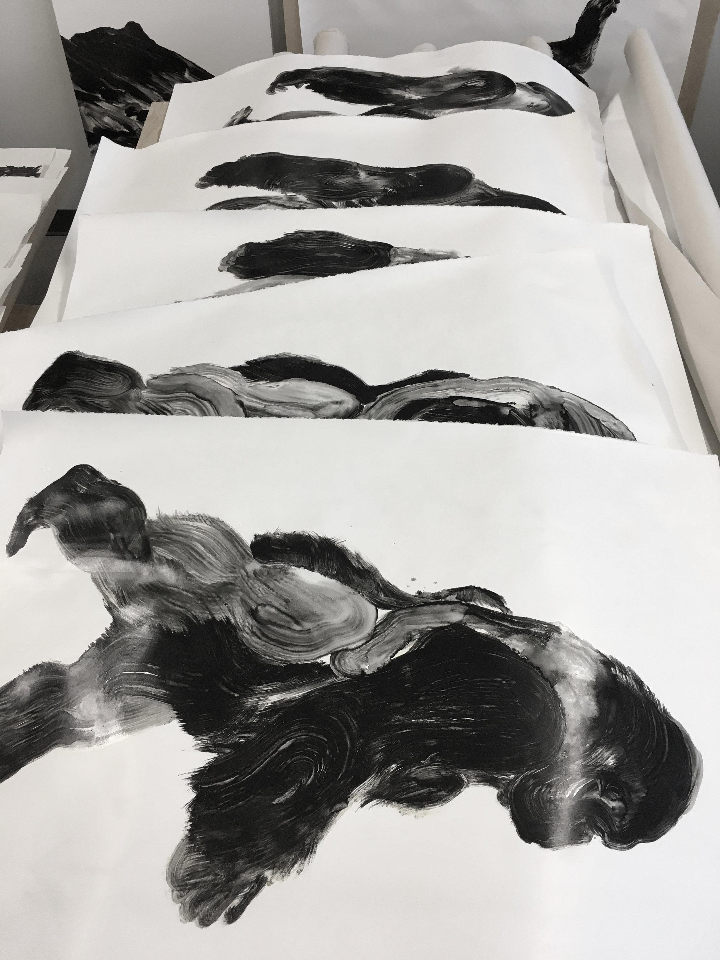 Série, huile sur papier  Atelier sur De Gaspé  Mile end, Montréal