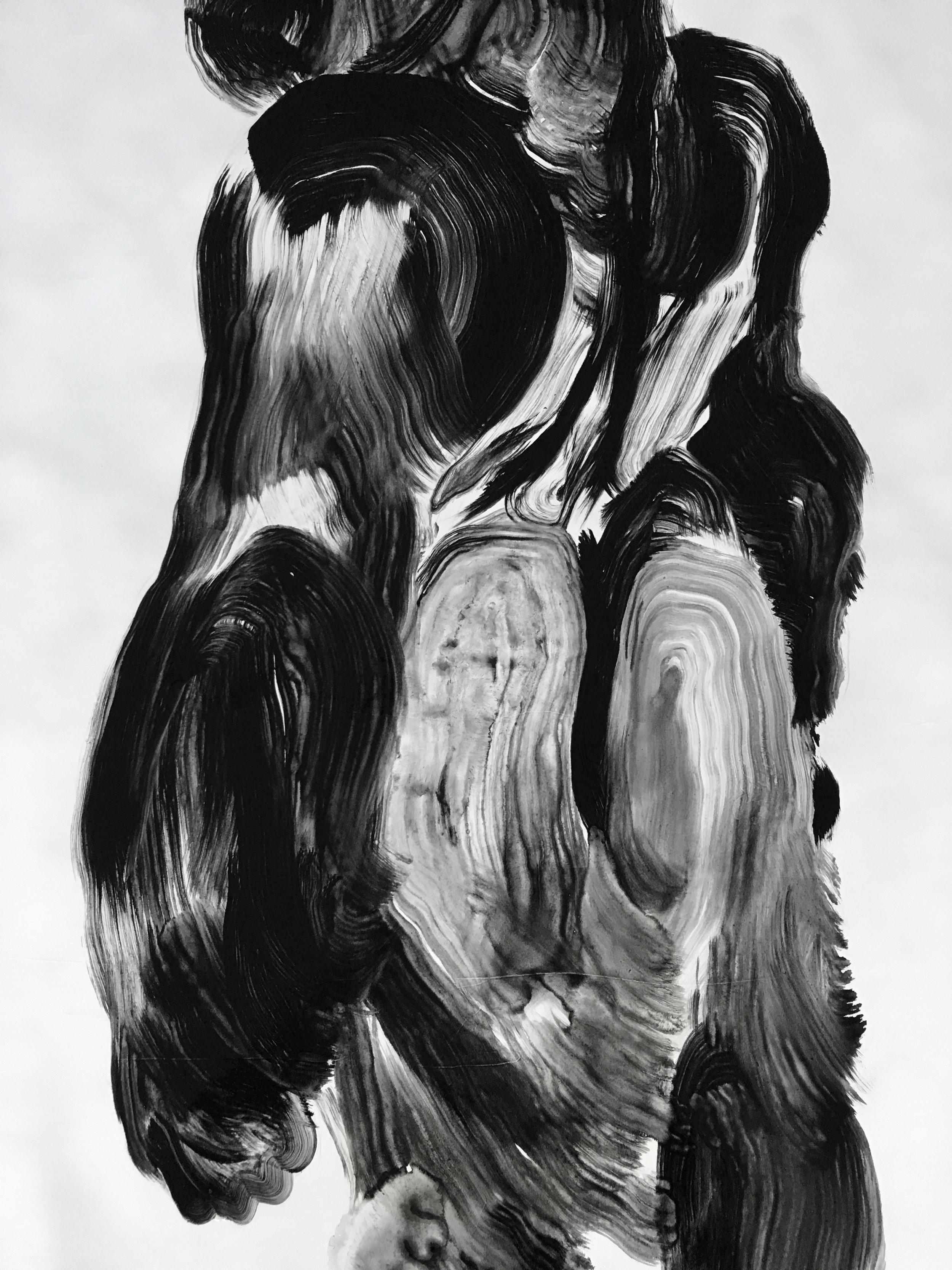 Détail, série des gorilles  Huile sur papier