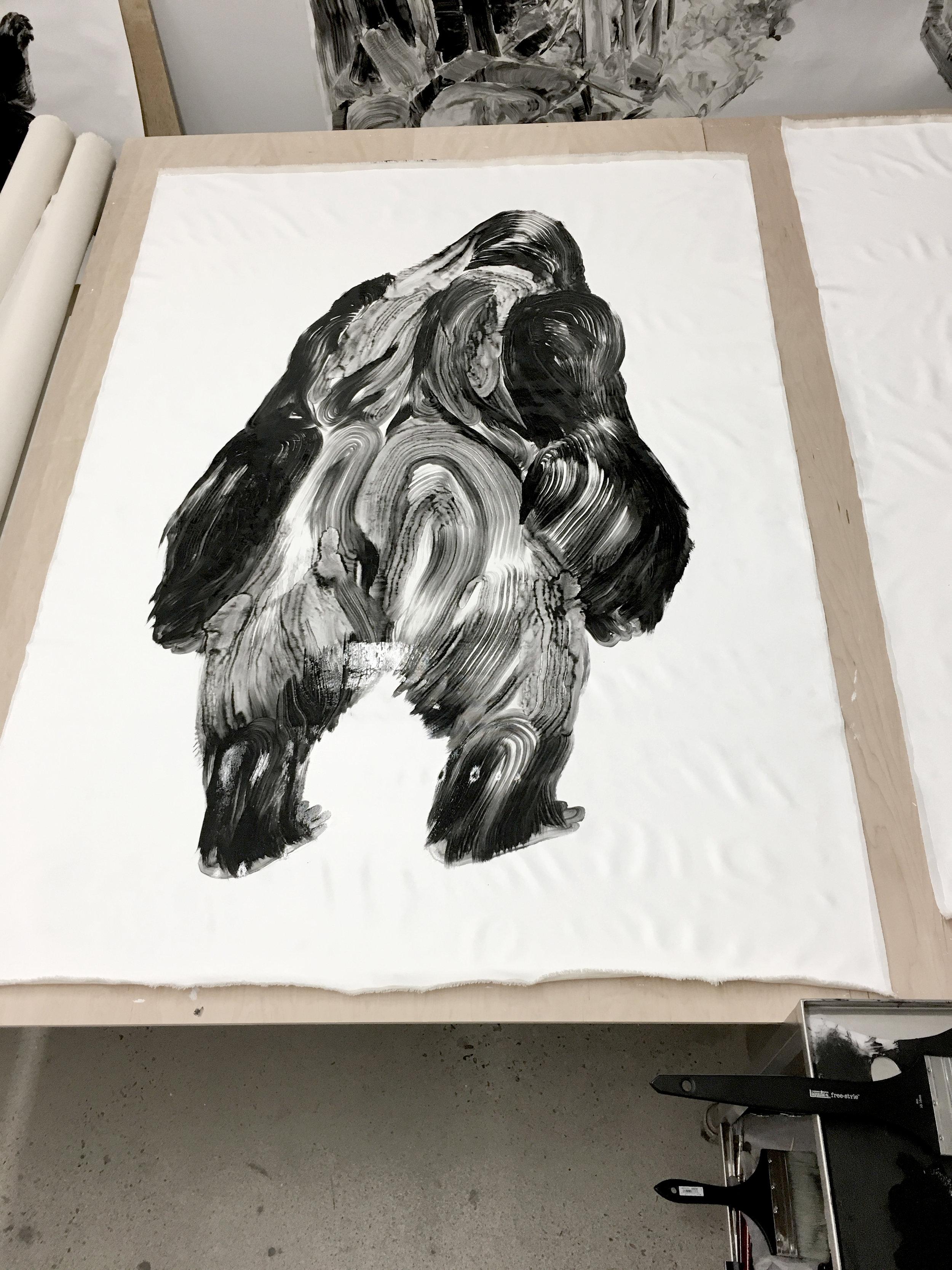 De la série des gorilles  Huile sur papier