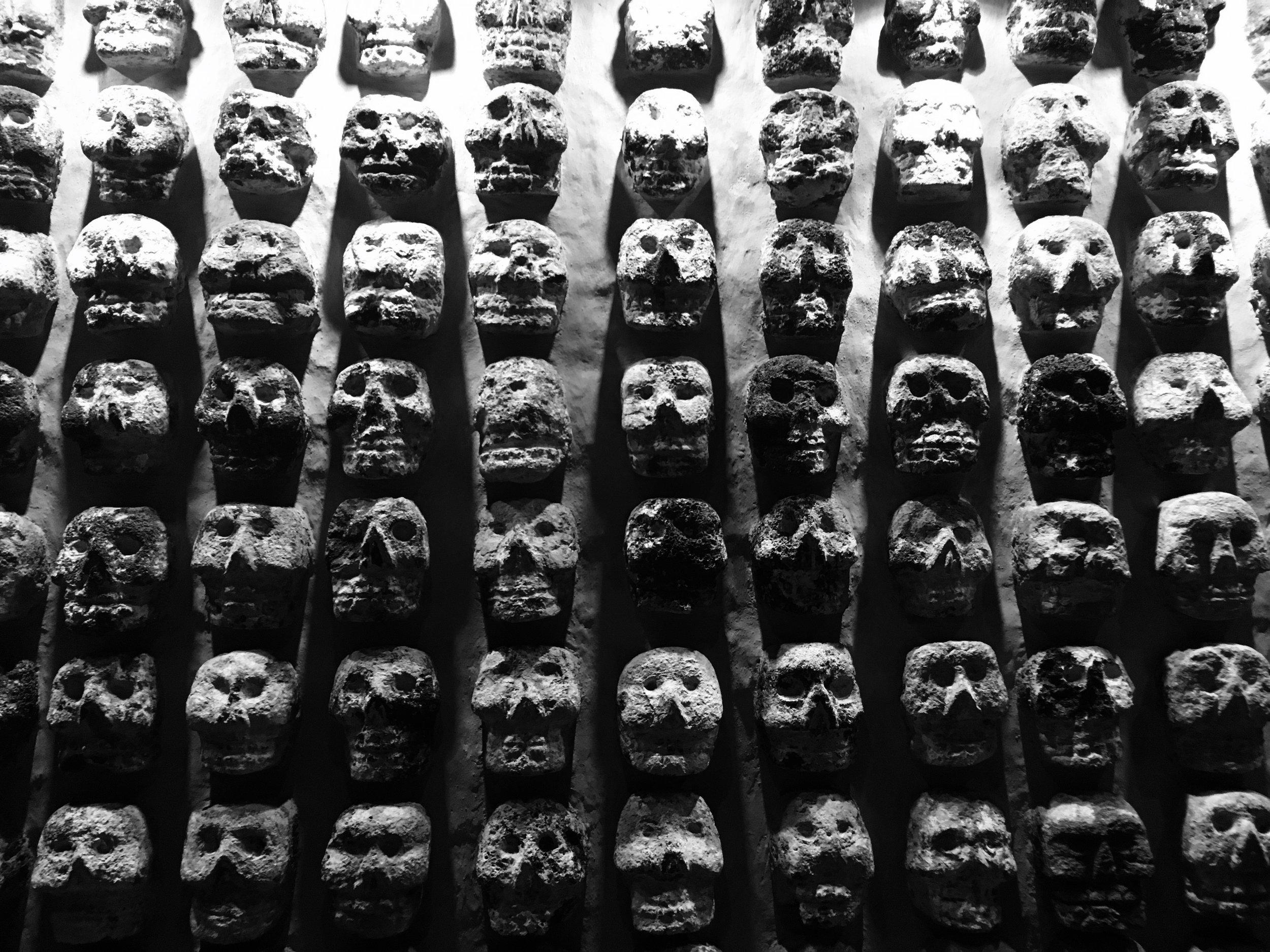 Mur des crânes  Templo Mayor, Mexico City