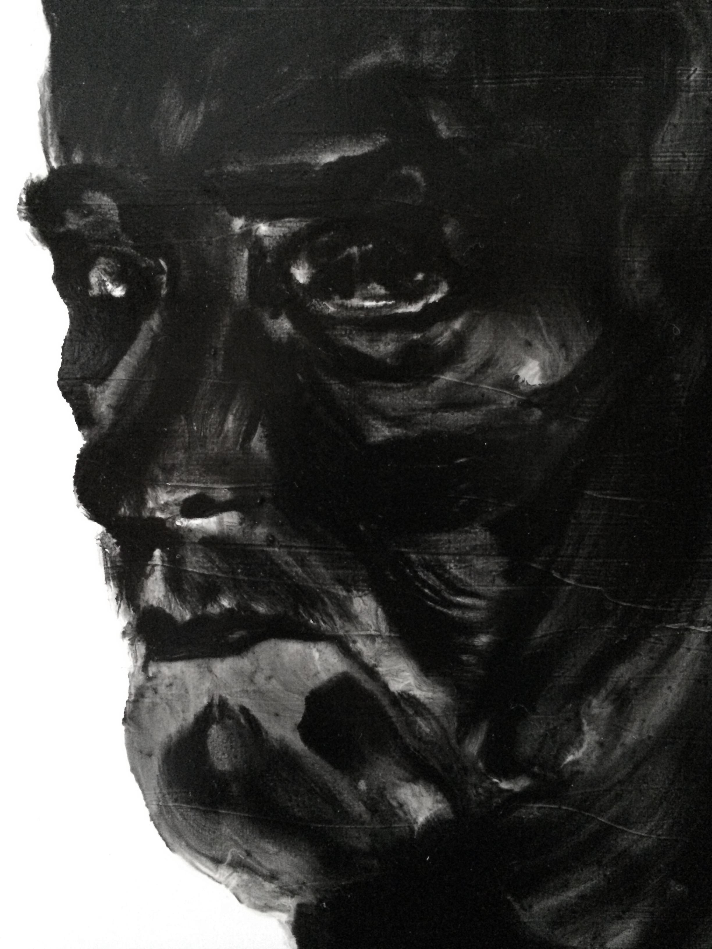 Détail, de la série des portraits noirs  Huile sur panneau
