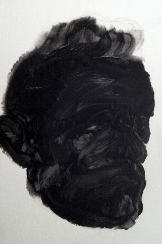 Détail de la série des portraits noirs  Huile sur panneau