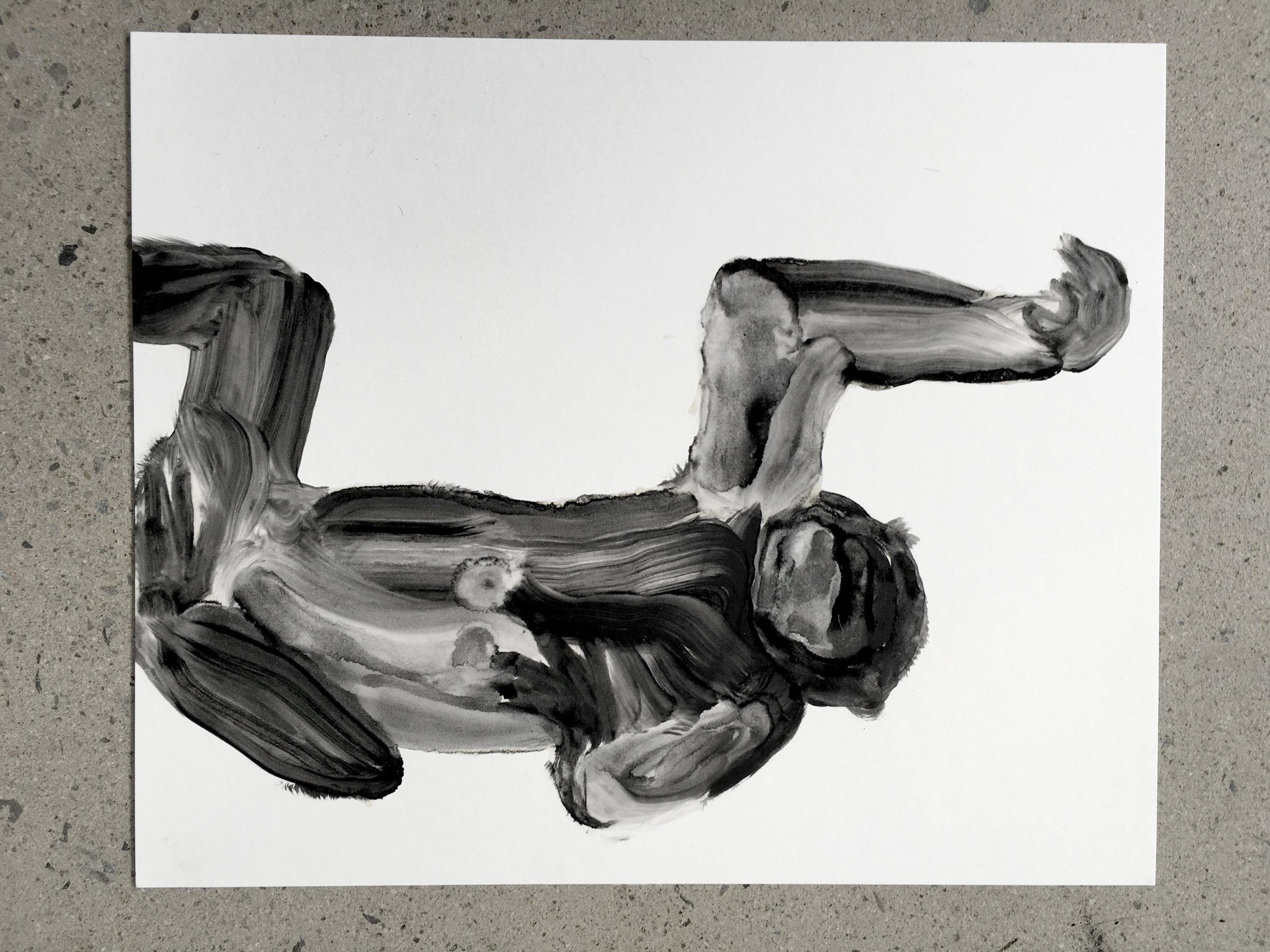 Étude à l'huile sur papier, macaque