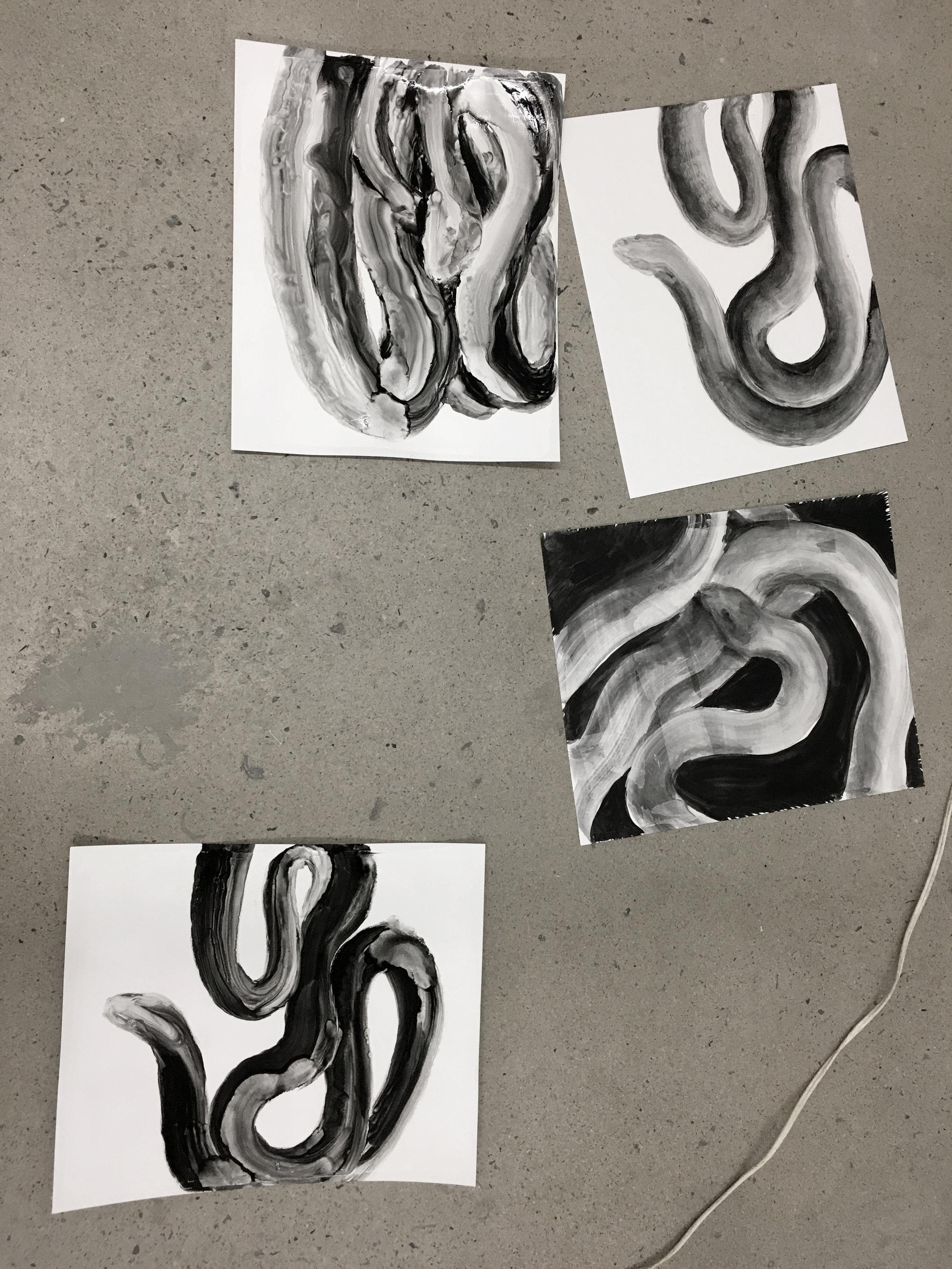 Études à l'huile sur papier, serpents