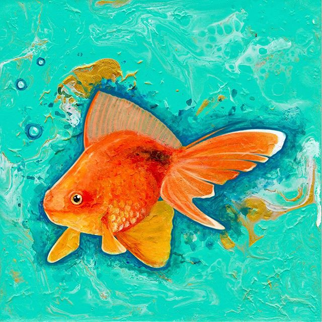 Happy Wednesday! Here's an acrylic pour I didn't like, so I painted a fish on it 🐠 his name is Lewis #acrylicpouring #painting #art #goldfish #acrylic