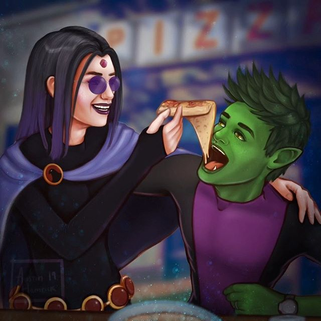 🍕💜💚 Beast Boy and Raven for my niece's birthdayyyy, since they're her favorite characters.   I struggled w this one a little, so I'm mostly just glad it's done 😝 i tried watching the 'teen titans go!' movie and show while I painted... 🥴 and im sure it's good for younger kids, but it mostly made just made me miss the teen titans that actually looked like teens 😫 such a good show  Swipe for the timelapse video ⏯ #teentitans #digitalart #dccomics #art #raventeentitans #beastboy #beastboyandraven #dc #illustration #pizza #purplehair #speedpaint #timelapse #drawing #instaart #drawing
