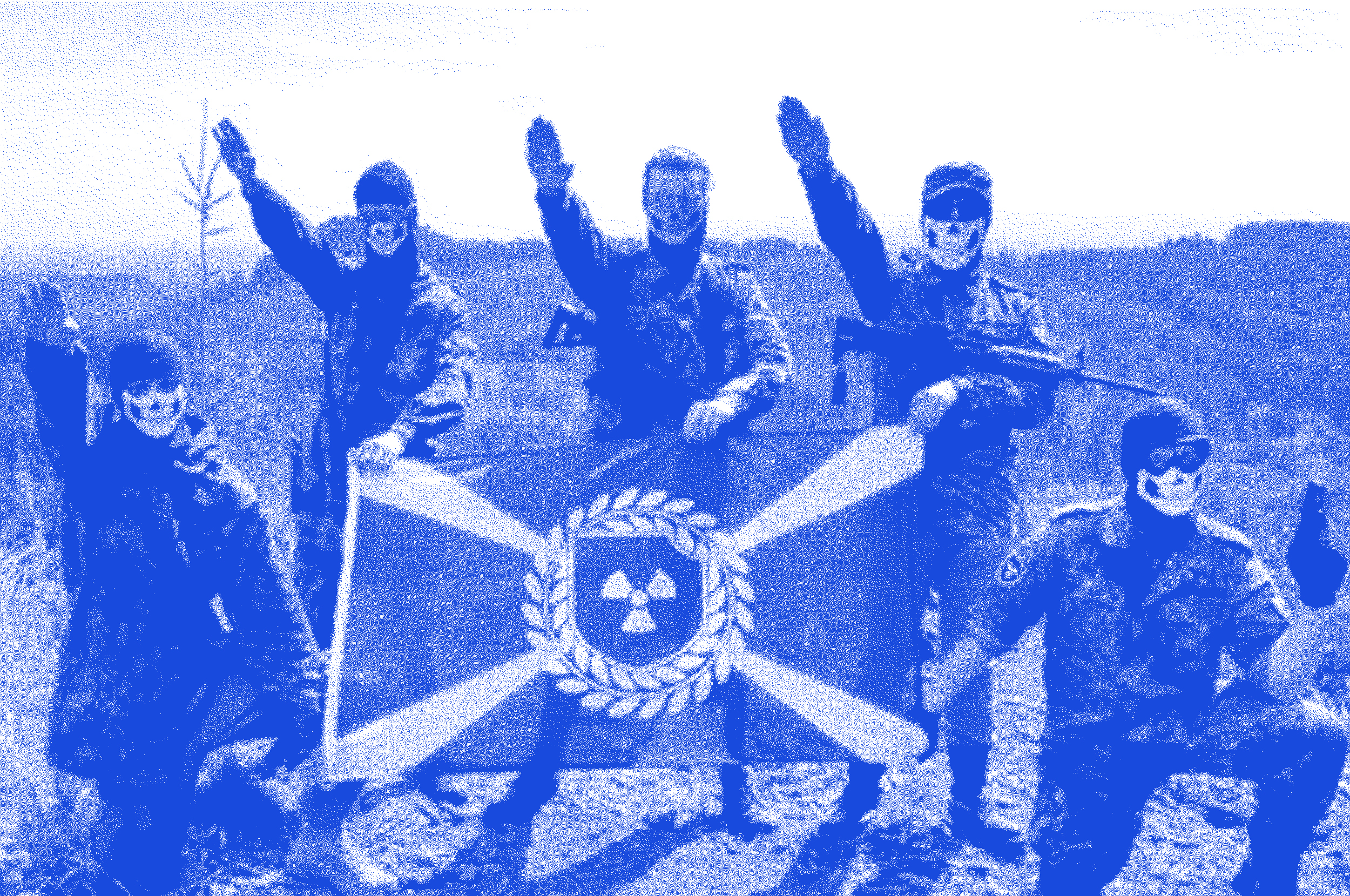 Members of  Atomwaffen  throw sieg heil salutes, while posing with their weapons and flag.