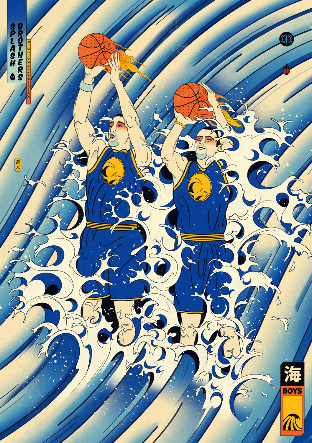 Edo Ball NBA Basketball Art - Stephen Curry and Klay Thompson.