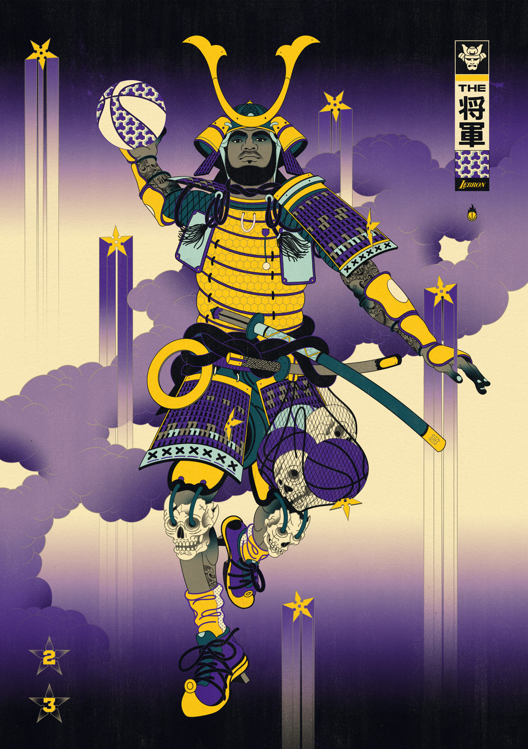 Edo Ball NBA Basketball Art - Shogun James, Edo Nights.