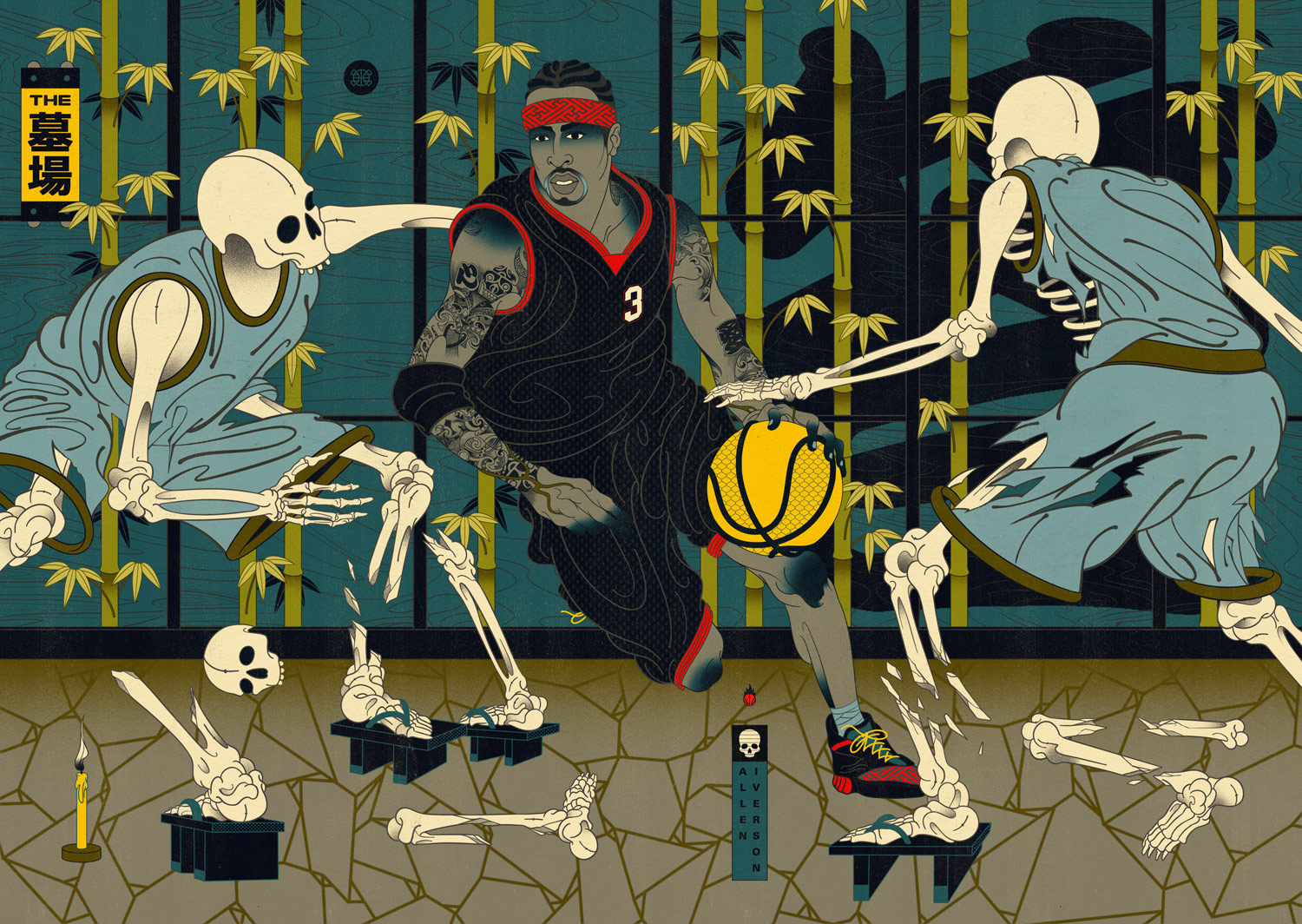 "Edo Ball NBA Basketball Art - Allen ""The Answer"" Inverson."