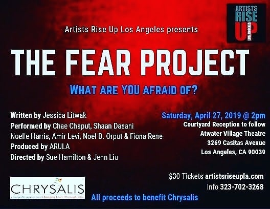 MEET THE CAST of fearless artists . CHAE CHAPUT  SHAAN DASANI  NOELLE HARRIS  AMIR LEVI NOEL D. ORPUT FIONA RENE . Artists Rise UP Los Angeles  in collaboration with  The H.E.A.T Collective  presents  THE FEAR PROJECT Saturday April 27, 2019 2PM Atwater Village Theatre  3269 Casitas Ave. LA, CA 90031 🎫 TICKET LINK IN BIO🎫 . ALL PROCEEDS TO BENEFIT,  @chrysalisla  #ChangeLives #Chrysalis #artistsriseupla #TransformingLives #MoreThanAJob #nonprofit