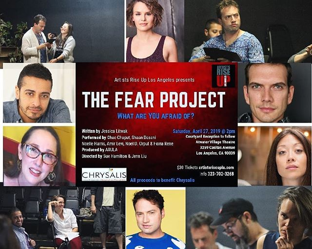 IN JUST 3 DAYS for ONE PERFORMANCE ONLY MATINEE!! Artists Rise UP Los Angeles in collaboration with The H.E.A.T Collective presents THE FEAR PROJECT  ALL PROCEEDS to benefit @chrysalisla  The FEAR Project is a play and theatrical action based on interviews about fear.  The theatrical experience includes pre-show interviews and a post- show discussion with the audience centering around the exploration of 13 specific questions.  The FEAR Project aspires to create an atmosphere of restoration by giving people a chance to communicate about fear in a safe and creative space.  The FEAR Project has been produced in The Czech Republic, India, Wisconsin and New York City. Each time it is re-created from scratch.  The next stage was to bring the journey to Los Angeles, in collaboration with Jessica Litwak, The H.E.A.T Collective and Artists Rise Up Los Angeles, we built the experience from the first question: What are you afraid of? 🎫TICKETS LINK in BIO🎫