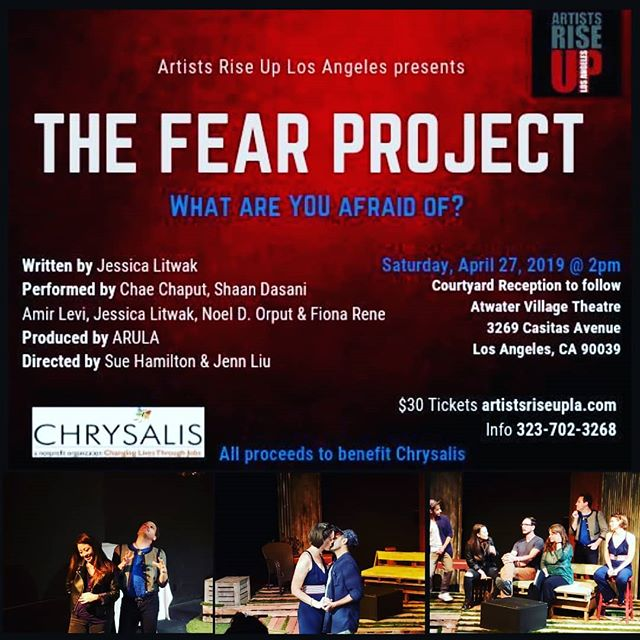 TOMORROW AT 2PM🎭 DON'T MISS our 1st Benefit of 2019!! Artists Rise UP Los Angeles in collaboration with The H.E.A.T Collective presents  The Fear Project  ALL PROCEEDS to benefit Chrysalis  Chrysalis is a nonprofit organization dedicated to creating a pathway to self-sufficiency for homeless and low-income individuals by providing the resources and support needed to find and retain employment.  The FEAR Project is a play and theatrical action based on interviews about fear.  The theatrical experience includes pre-show interviews and a post- show discussion with the audience centering around the exploration of 13 specific questions.  The FEAR Project aspires to create an atmosphere of restoration by giving people a chance to communicate about fear in a safe and creative space.  The FEAR Project has been produced in The Czech Republic, India, Wisconsin and New York City. Each time it is re-created from scratch.  The next stage was to bring the journey to Los Angeles, in collaboration with Jessica Litwak, The H.E.A.T Collective and Artists Rise Up Los Angeles, we built the experience from the first question: What are you afraid of? 🎫TICKETS SELLING FAST 🎫 🎫LINK IN BIO🎫 #artistsriseupla #benefit #EndHomelessness #CallToAction #homeless #lathtr #actors #acting #dogood #artists #socialactivism #activist