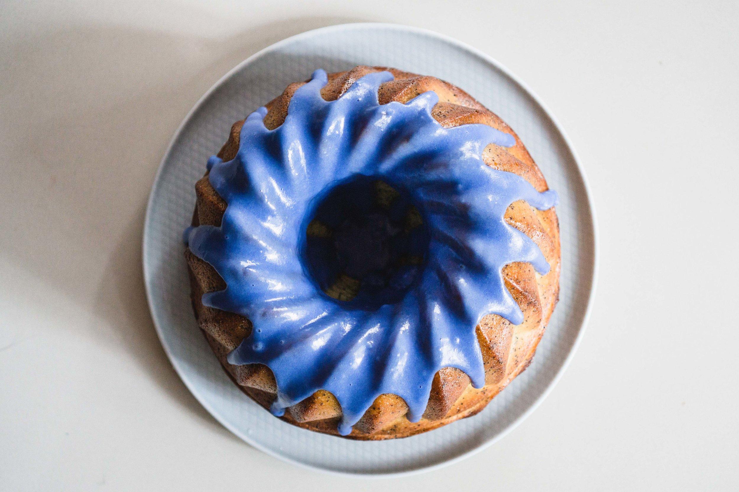 Lemon & Poppy Seed Cake w Blue Glaze