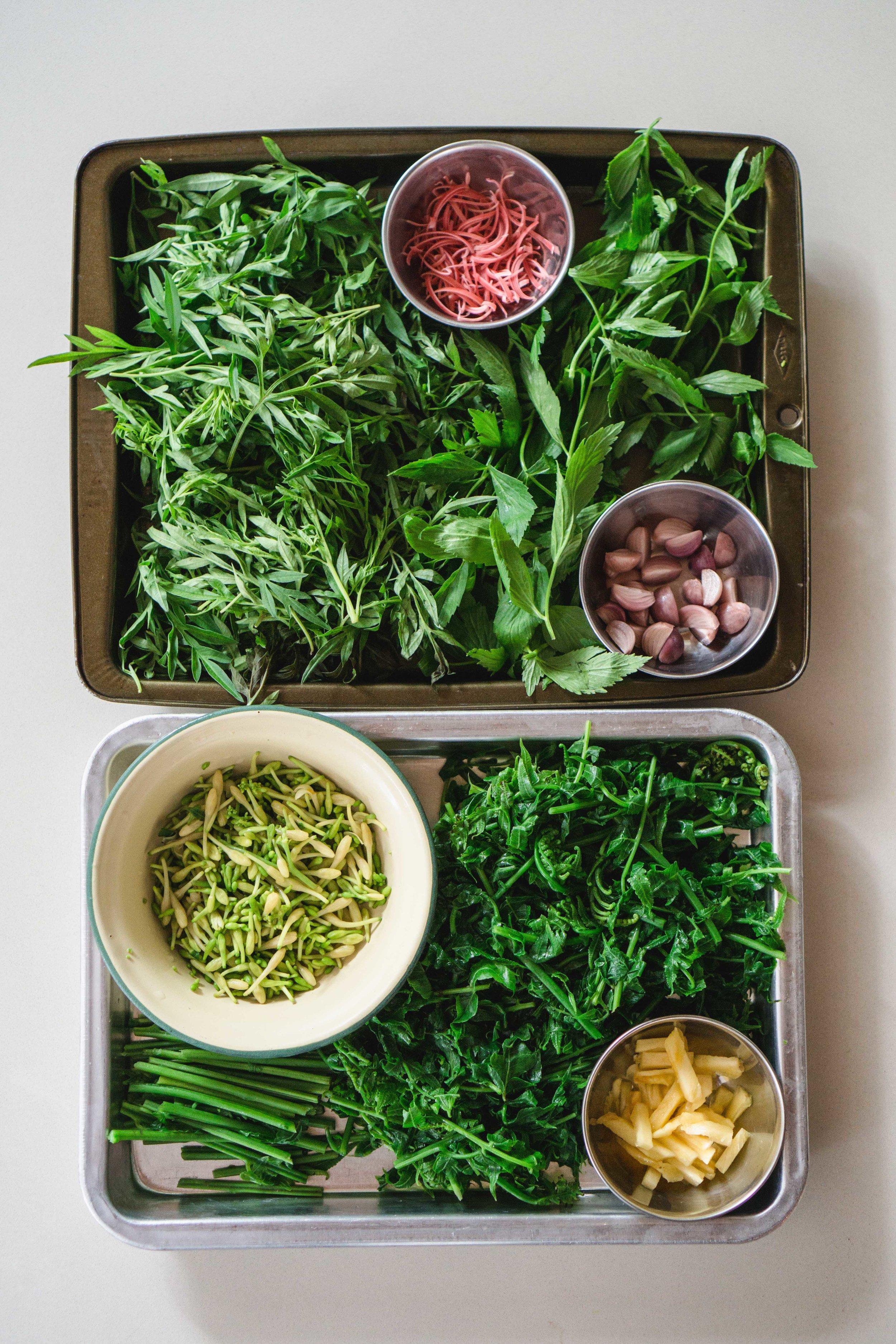 Paku Fern Salad Prep