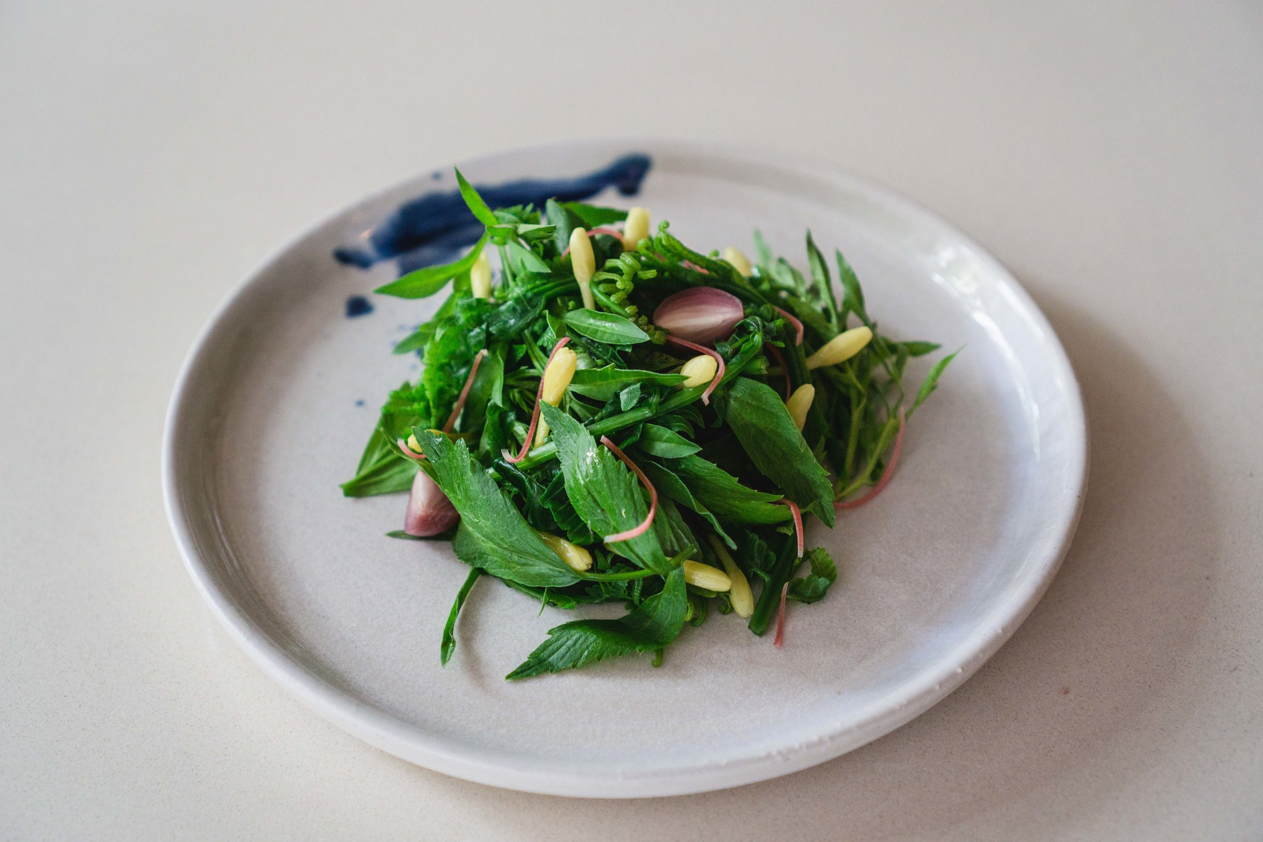Paku Fern Salad with Torch Ginger Lily Dressing
