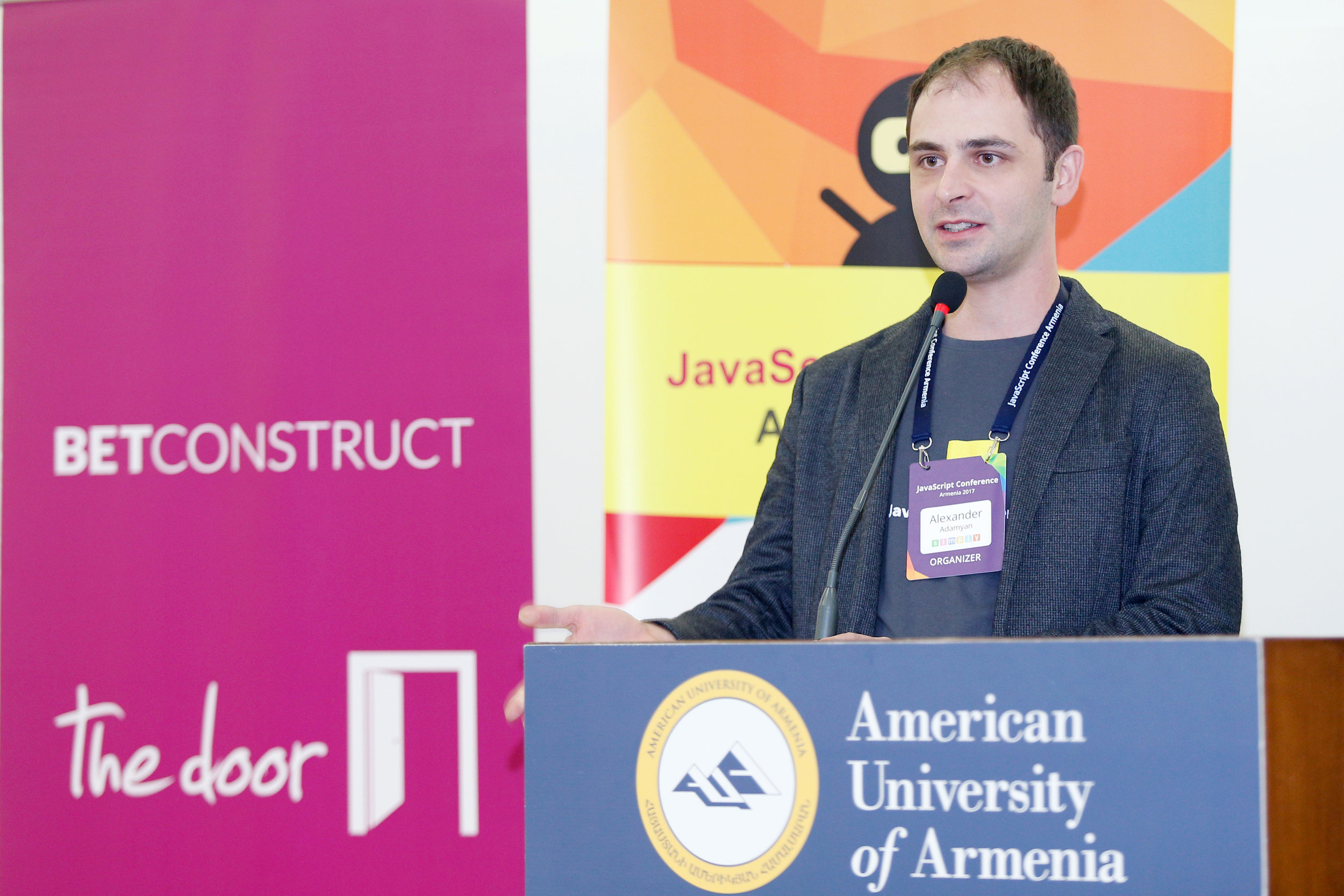 Simply Co-founder Alex hosting JS Conf Armenia