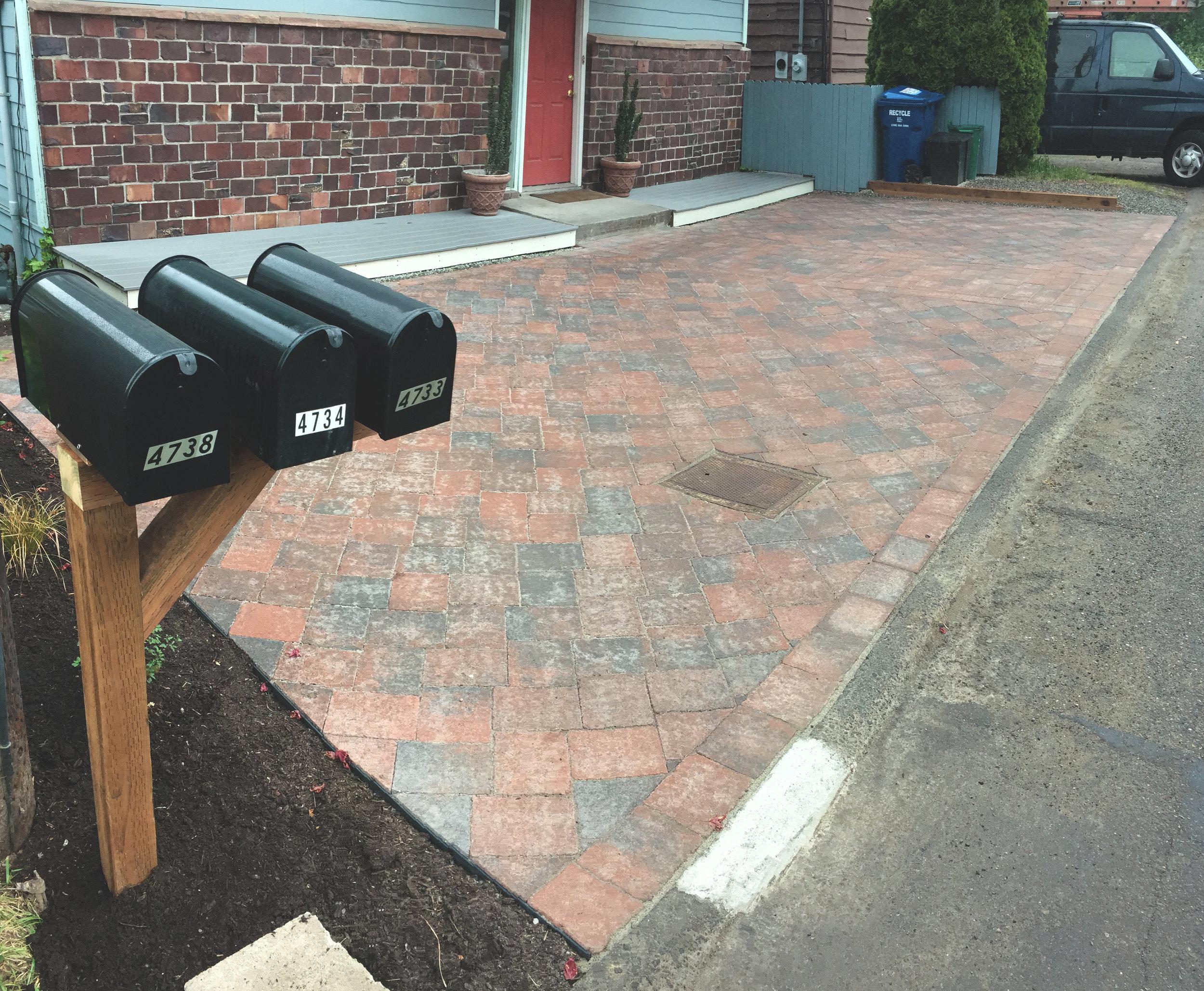 Herringbone pattern paver driveway  (Built with RumbleStone Pavers)