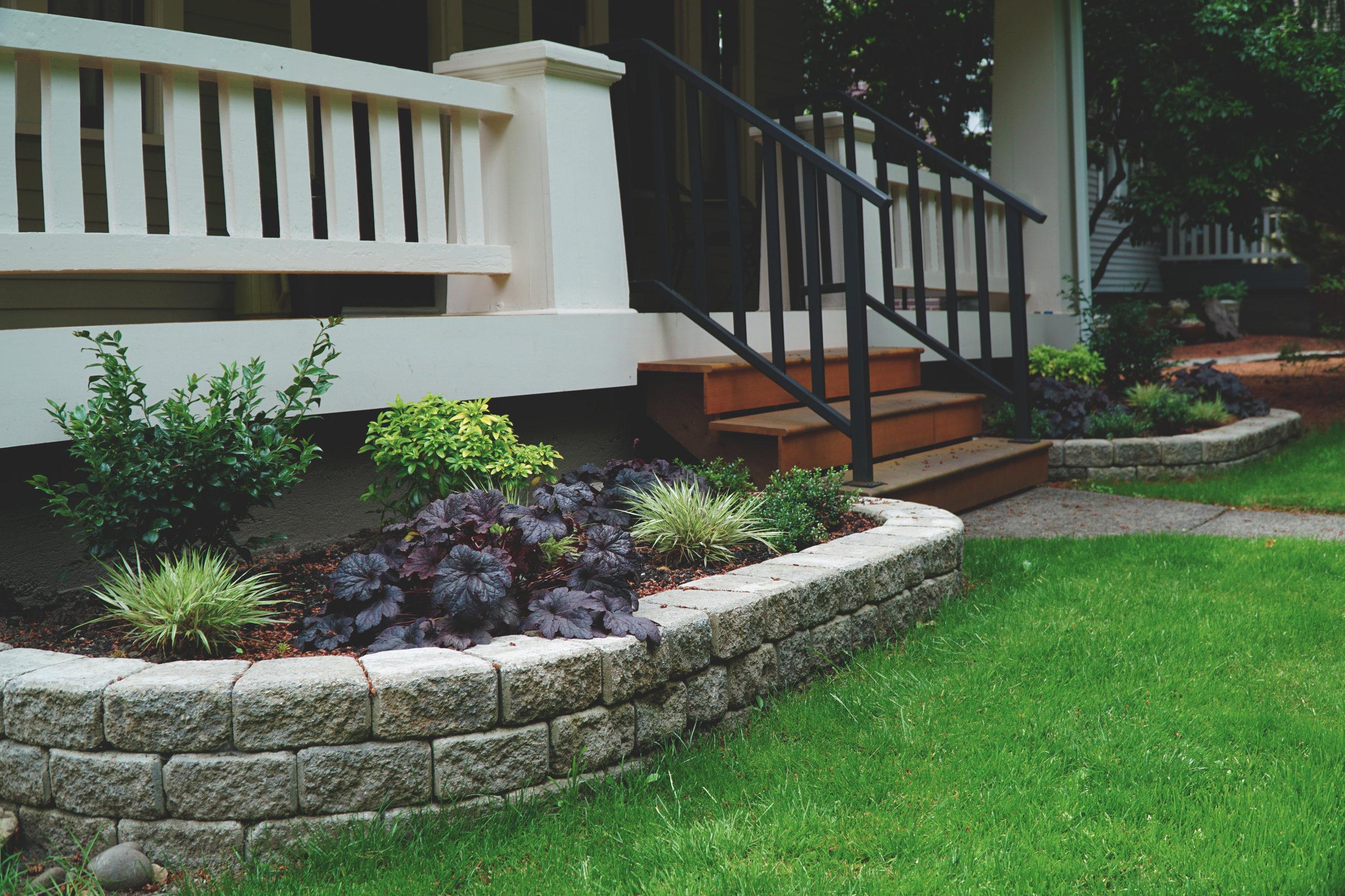 Raised garden walls  (Built with roman stack wall block)