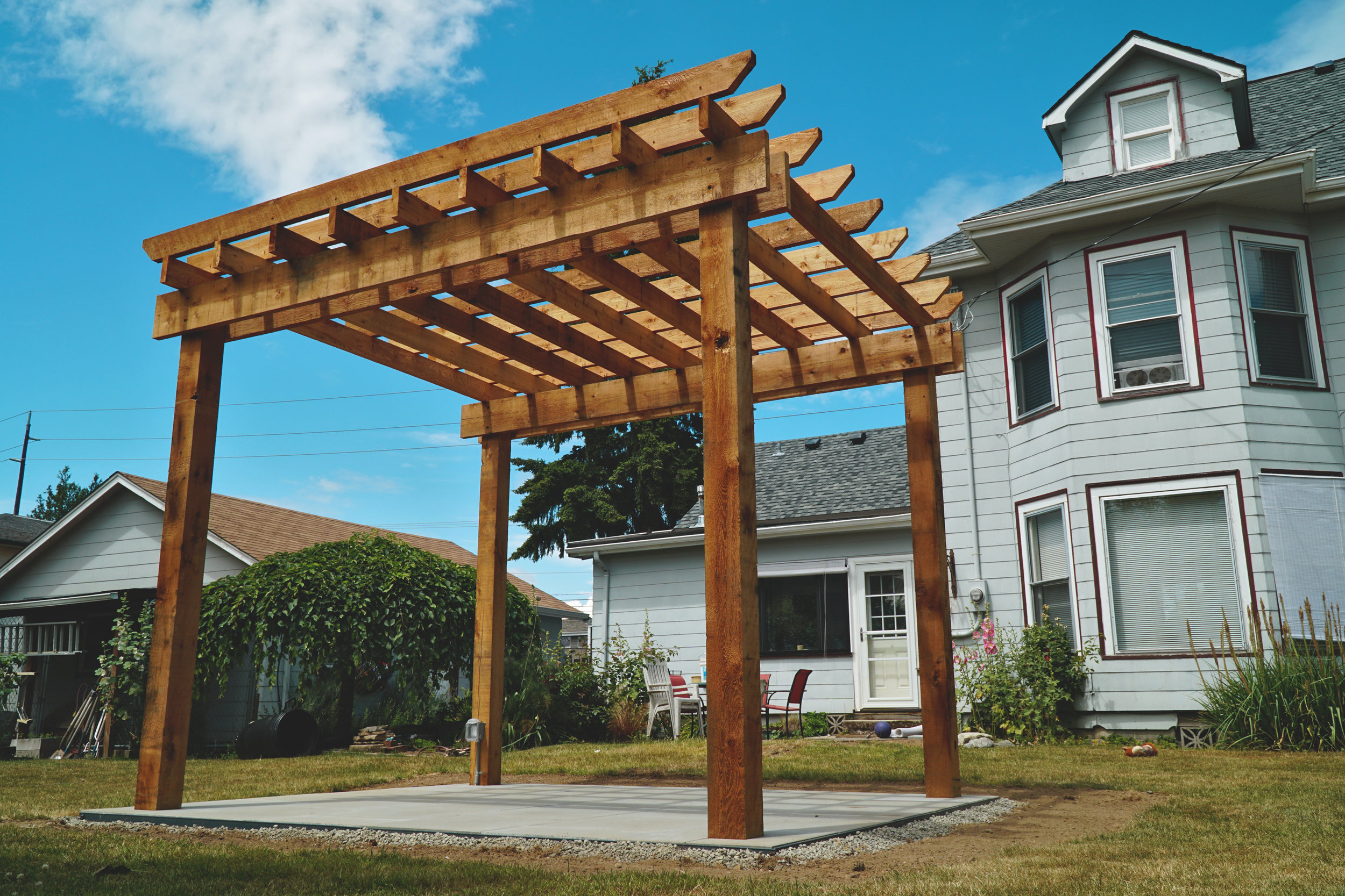 Rustic pergola  (Built with all rough cut cedar lumber)
