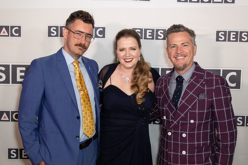 Chandler Poling, Erin Collins of SESAC, Thomas Mikusz co-founder of White Bear PR at the SESAC Film & TV Awards. Source: White Bear PR