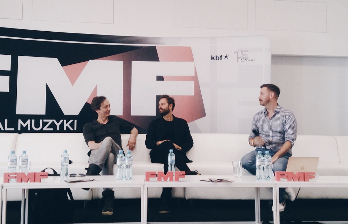 Chandler Poling moderates a discussion between clients and Oscar-nominees Dustin O'Halloran & Hauschka at the Krakow Film Music Festival. Source: White Bear PR