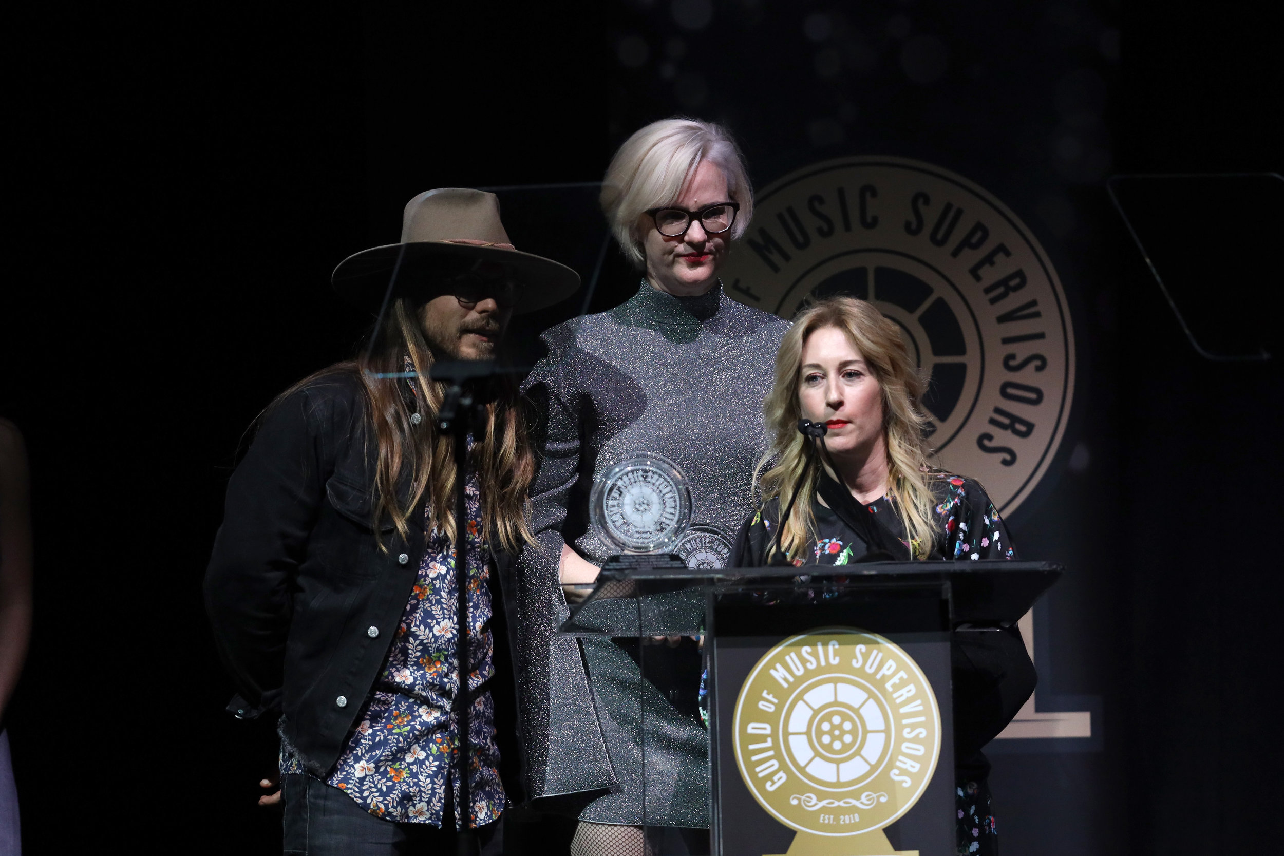 Lukas Nelson, Julianne Jordan, and Julia Michels at the 9th Annual Guild of Music Supervisors Awards. | © Rich Polk | Getty Images