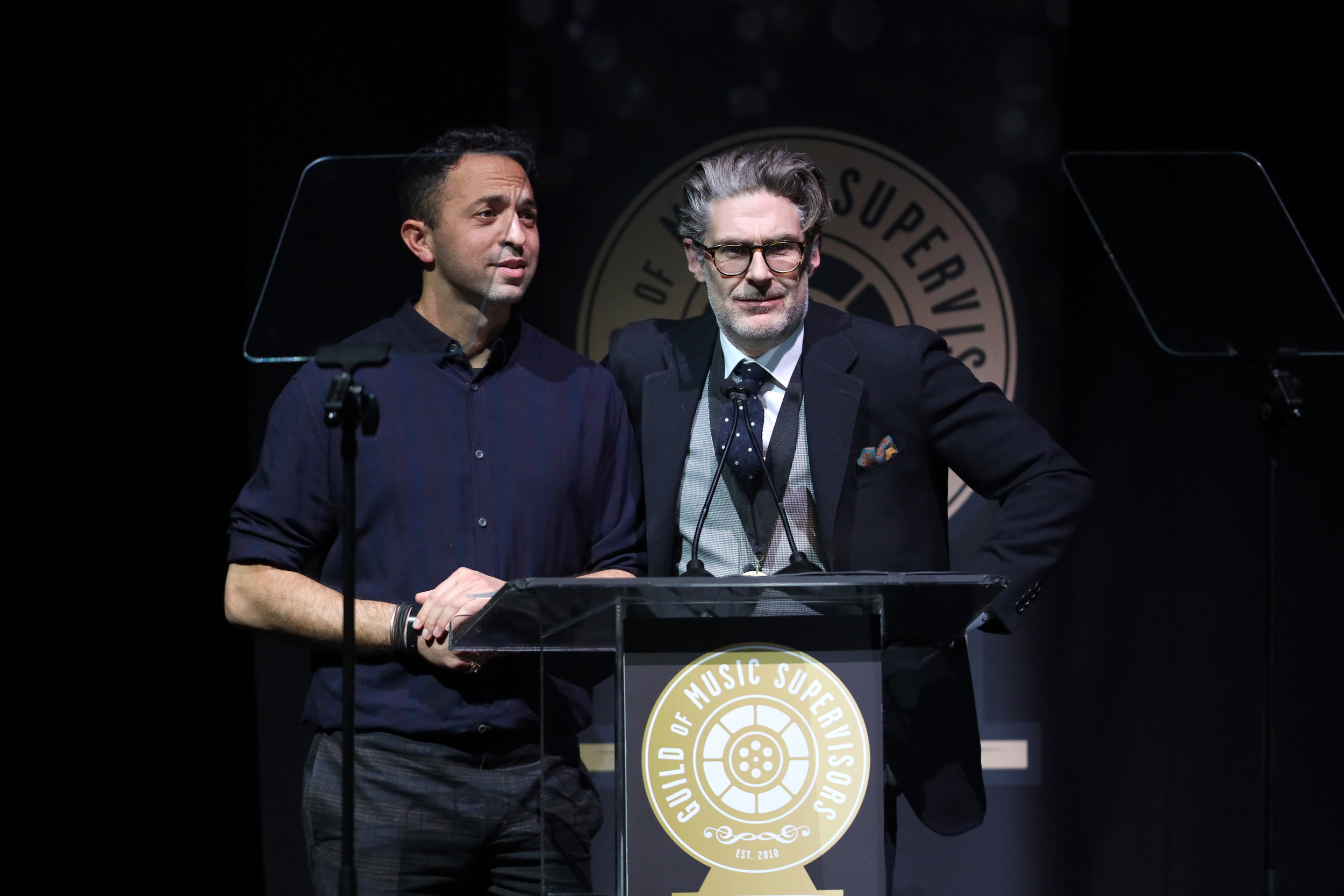 Andrew Kahn and Matt Biffa presenting at the 9th Annual Guild of Music Supervisors Awards | © Rich Polk | Getty Images