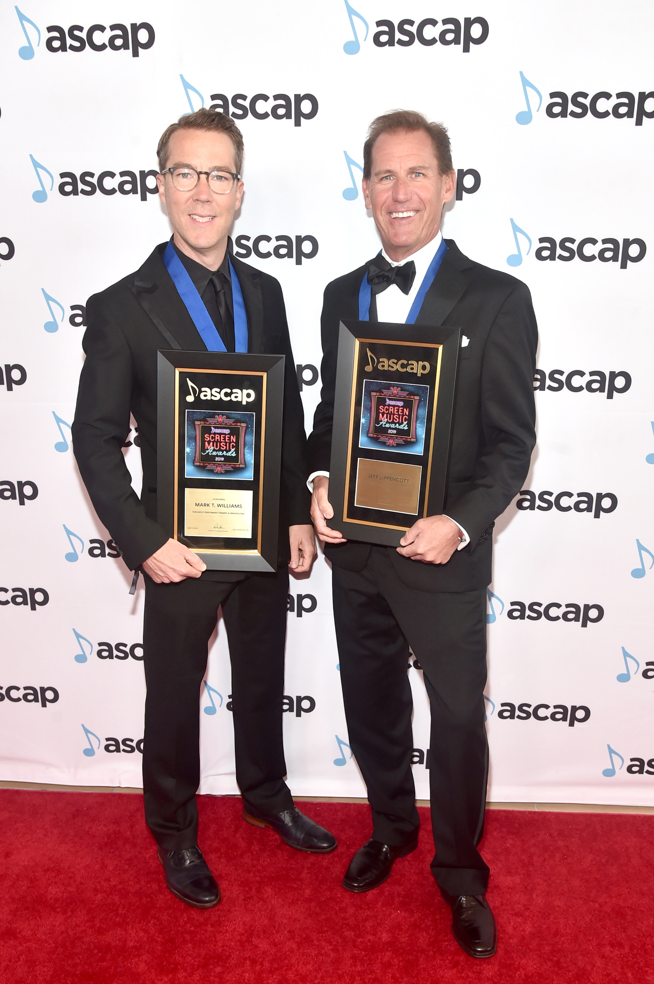 BEVERLY HILLS, CALIFORNIA - MAY 15: Composers Mark. T Williams (L) and Jeff Lippencott, winners of the award for Most Performed Themes and Underscore attend the ASCAP 2019 Screen Music Awards at The Beverly Hilton Hotel on May 15, 2019 in Beverly Hills, California. (Photo by Alberto E. Rodriguez/Getty Images for ASCAP)
