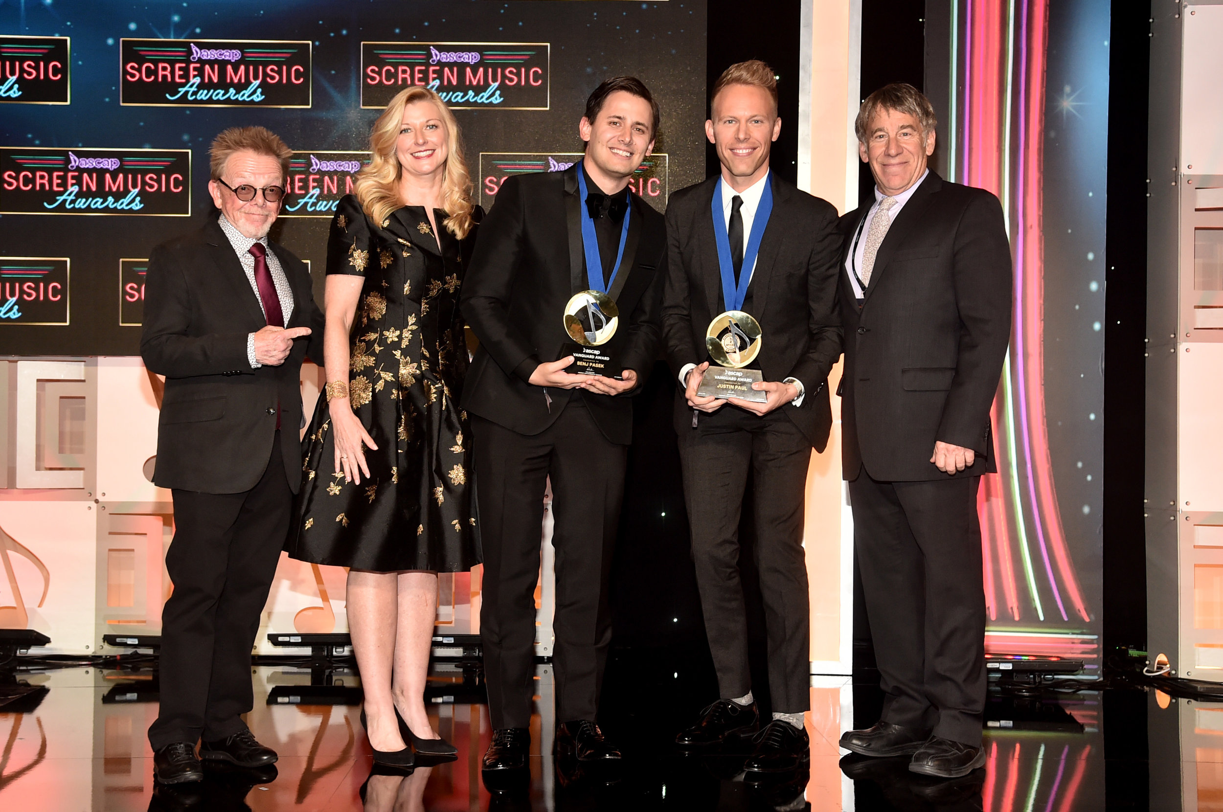 BEVERLY HILLS, CALIFORNIA - MAY 15: (L-R) ASCAP President and Chairman of the Board Paul Williams, ASCAP CEO Elizabeth Matthews, Vanguard Award winners Benj Pasek and Justin Paul and composer Stephen Schwartz stand onstage during the ASCAP 2019 Screen Music Awards Show at The Beverly Hilton Hotel on May 15, 2019 in Beverly Hills, California. (Photo by Alberto E. Rodriguez/Getty Images for ASCAP)