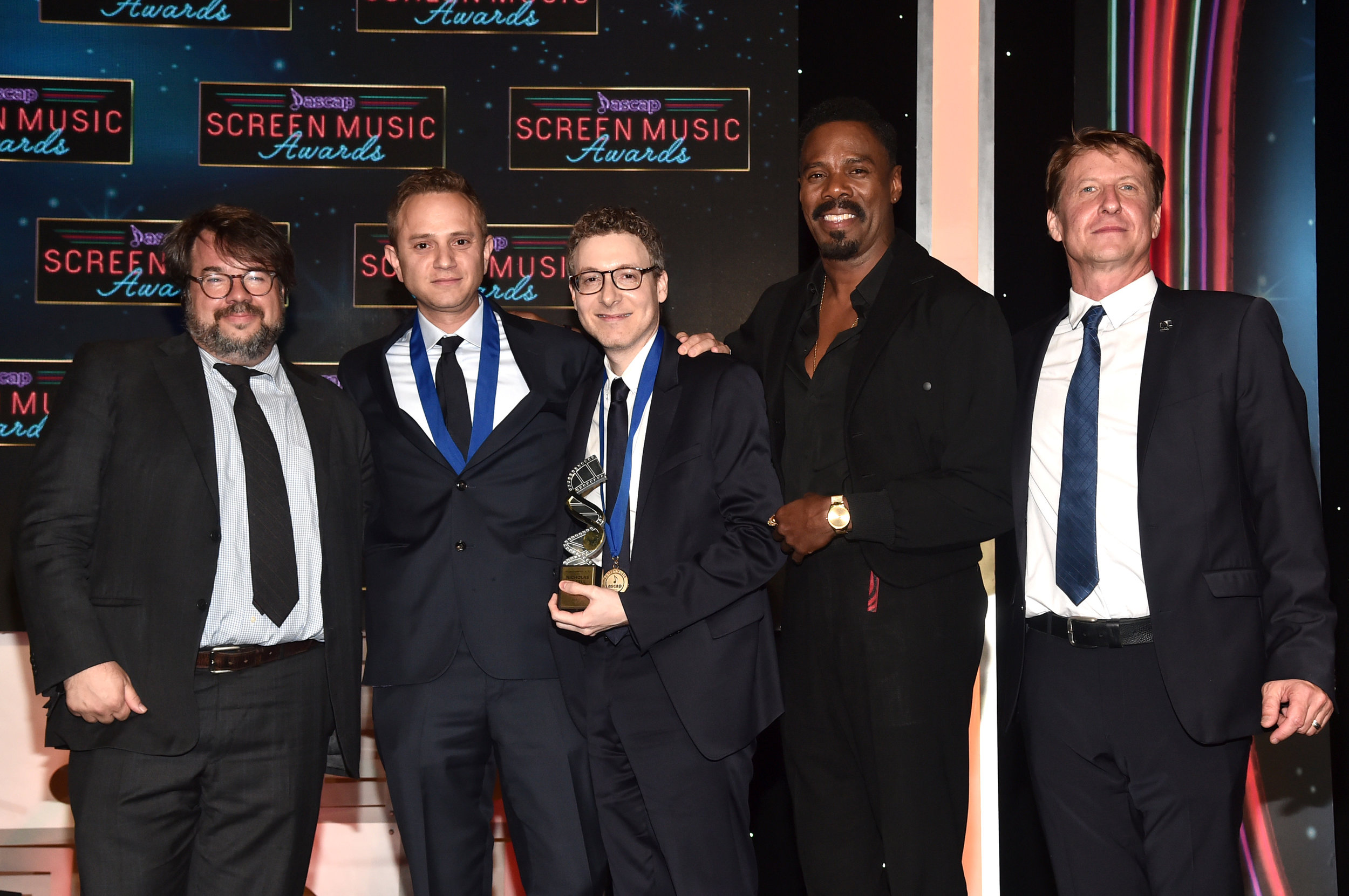 BEVERLY HILLS, CALIFORNIA - MAY 15: (L-R) President of the Guild of Music Supervisors Thomas Golubić, Harmony Award winners Gabe Hilfer and Nicholas Britell, Colman Domingo and ASCAP SVP: Film & TV Music / New Media Shawn LeMone stand onstage during the ASCAP 2019 Screen Music Awards - Show at The Beverly Hilton Hotel on May 15, 2019 in Beverly Hills, California. (Photo by Alberto E. Rodriguez/Getty Images for ASCAP)