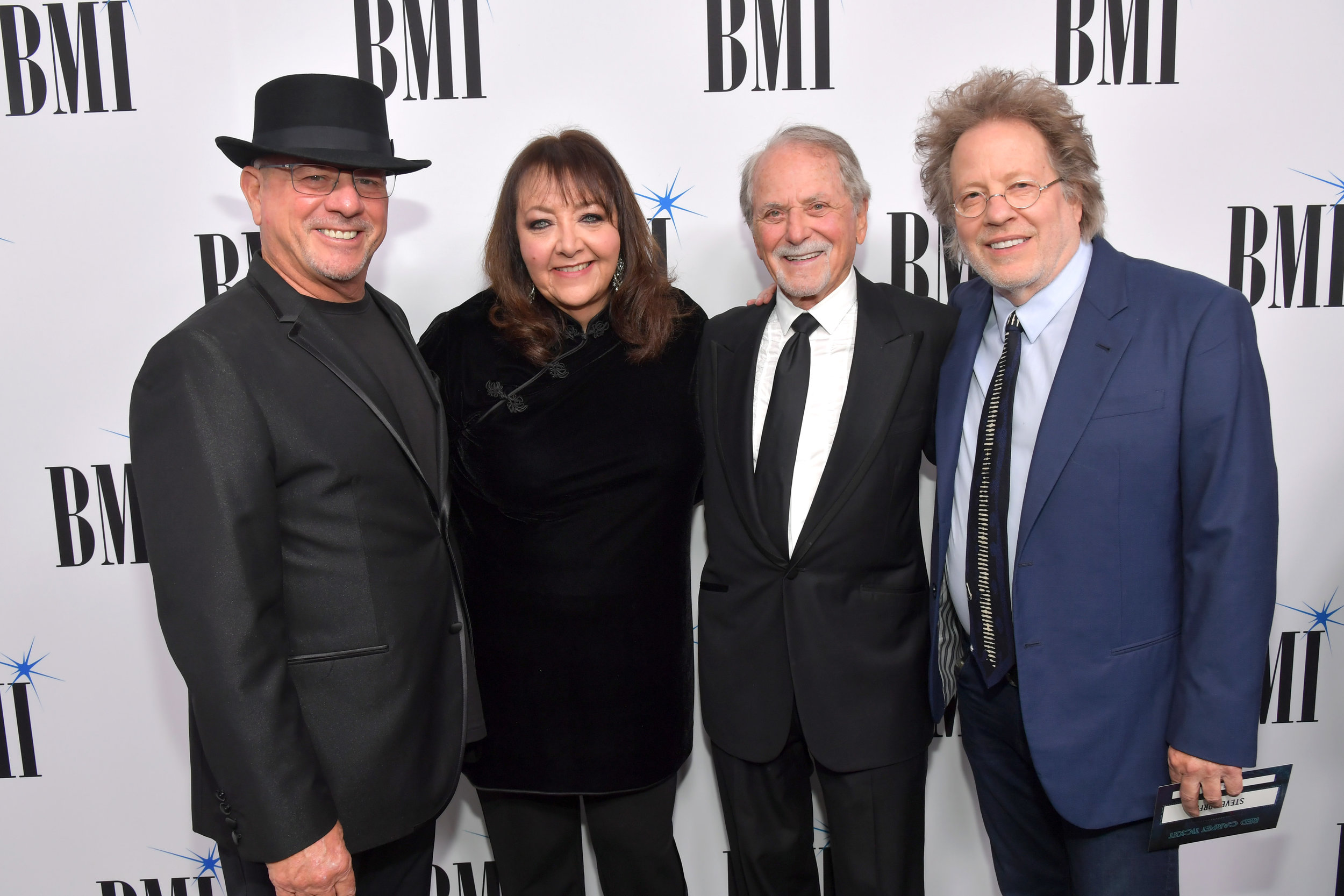 BEVERLY HILLS, CALIFORNIA - MAY 15: (L-R) Mike Post, BMI Creative - Film, TV & Visual Media VP Doreen Ringer-Ross, Barry De Vorzon, and Steve Dorff attend the 35th annual BMI Film, TV & Visual Media Awards on May 15, 2019 in Beverly Hills, California. (Photo by Lester Cohen/Getty Images for BMI)
