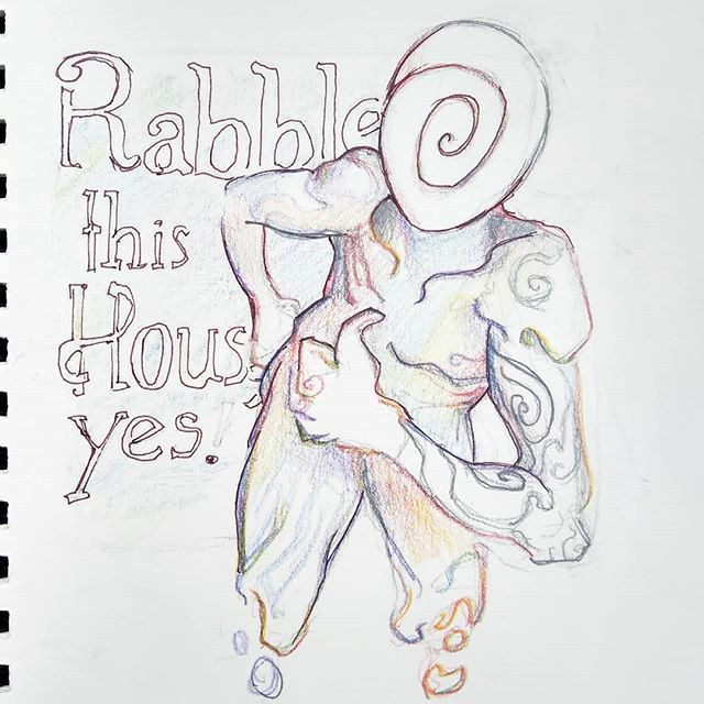 "A cheeky being of pure existential anxiety whipped up for @rabblehousemusic during their show last night. Go give their album ""Rabble This House, Yes"" a listen on Spotify, because I told you to. Then listen to it six more times not because I told you to, but because you love it that much.  #art #drawing #sketch #coloredpencil #pencil #seattlemusic #seattleartist #seattleart #rainbow #instaart #psychedelicart"