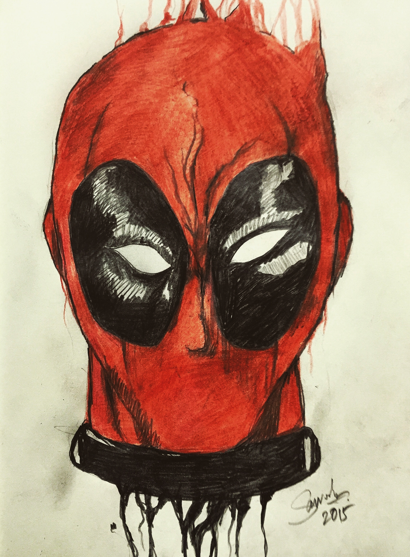 Ink drip effect   Inspired by the sketching of Kerby Rosanes, i tried to make the illustration of Deadpool on my Moleskine.   Medium:  Pencil colours and black marker pen.