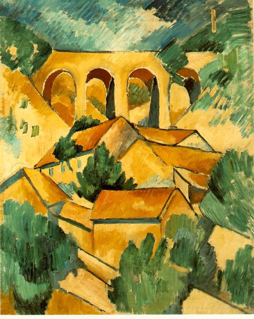 Georges Braque   Viaduct at L'Estaque , 1908  Oil on on canvas, 72.5×59 cm Musée National d'Art Moderne, Paris