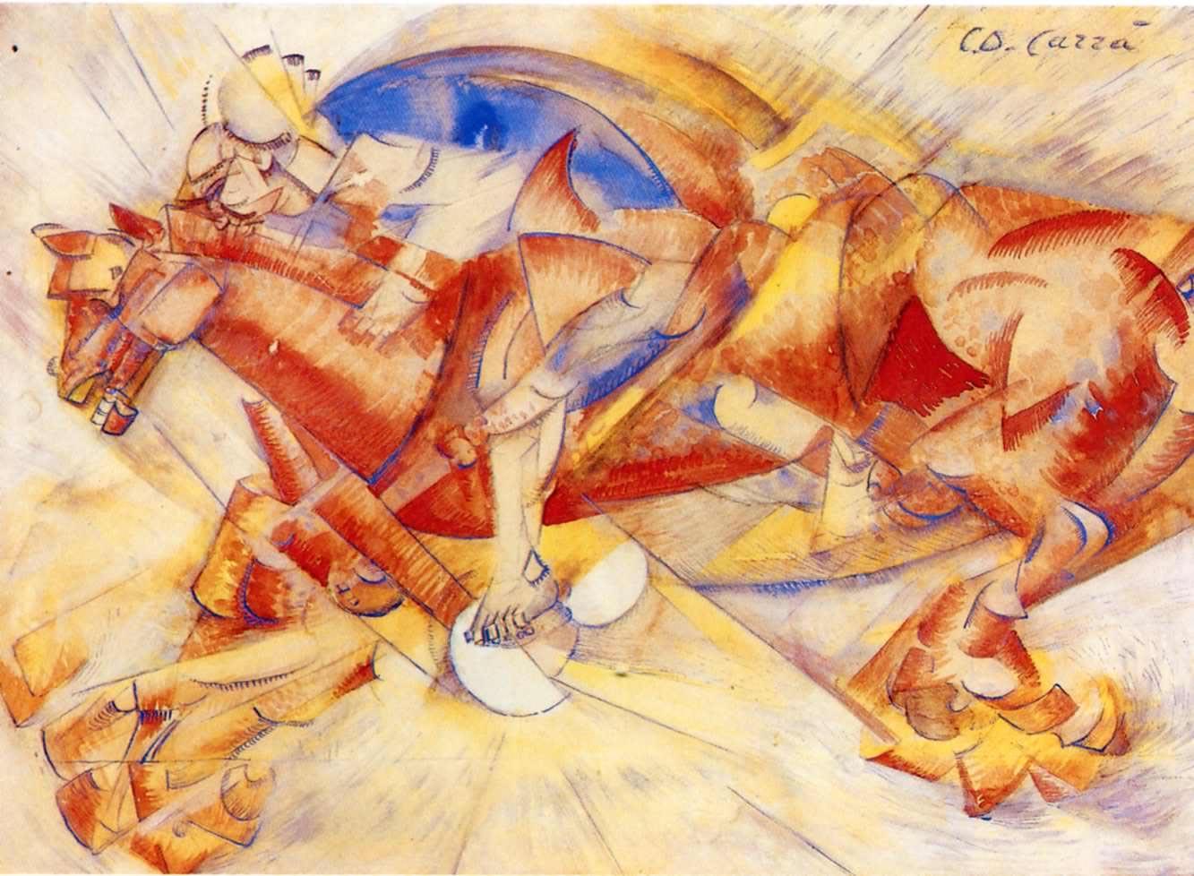 Carlo Carrà  The Red Horseman, 1913  Oil on Canvas, 26 x 36 cm Civico Museo d'Arte Contemporanea, Milan