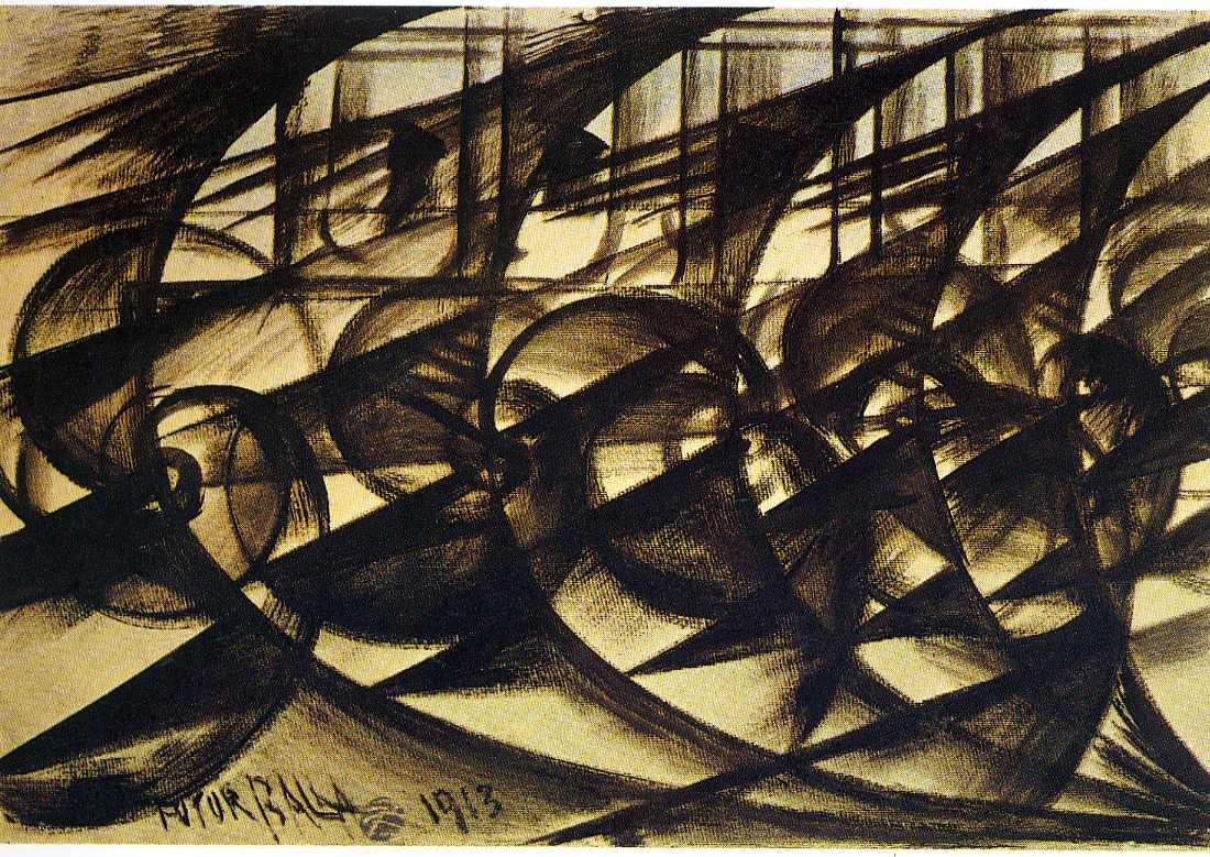 Giacomo Balla  Auto in corsa (studio). Velocità astratta, 1913  Tempera, watercolour, paper, 70 x 100 cm Stedelijk Museum, Amsterdam
