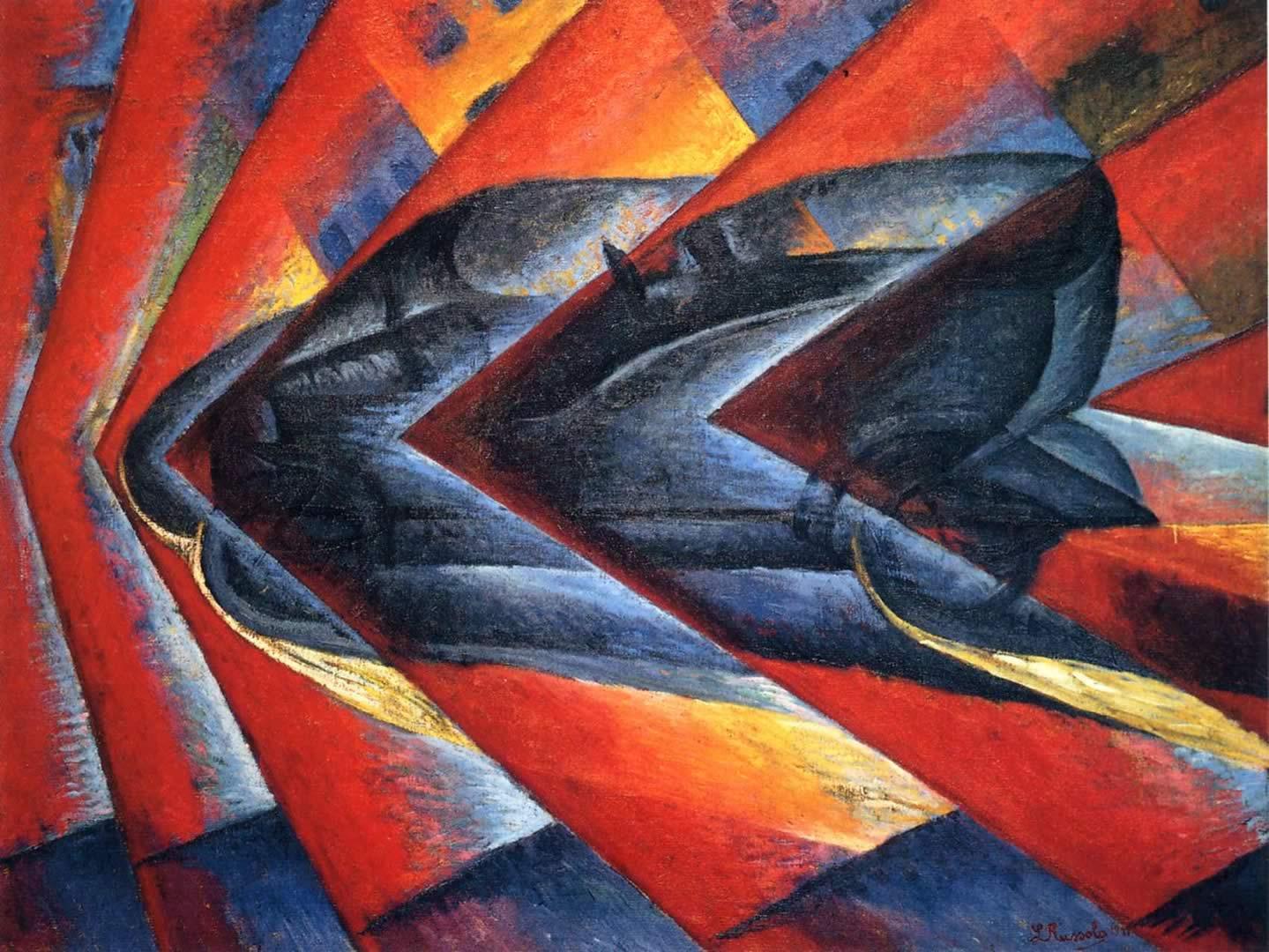 Luigi Russolo   Dynamism of an Automobile,    1911 Oil on canvas, 106 x 140 cm Paris, Musée National d'Art Morderne